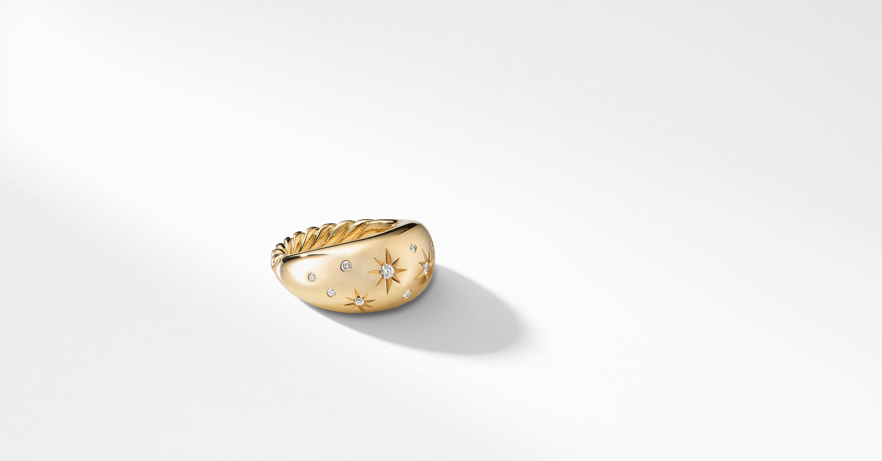 Pure Form Ring with Diamonds in 18 Gold, 11mm