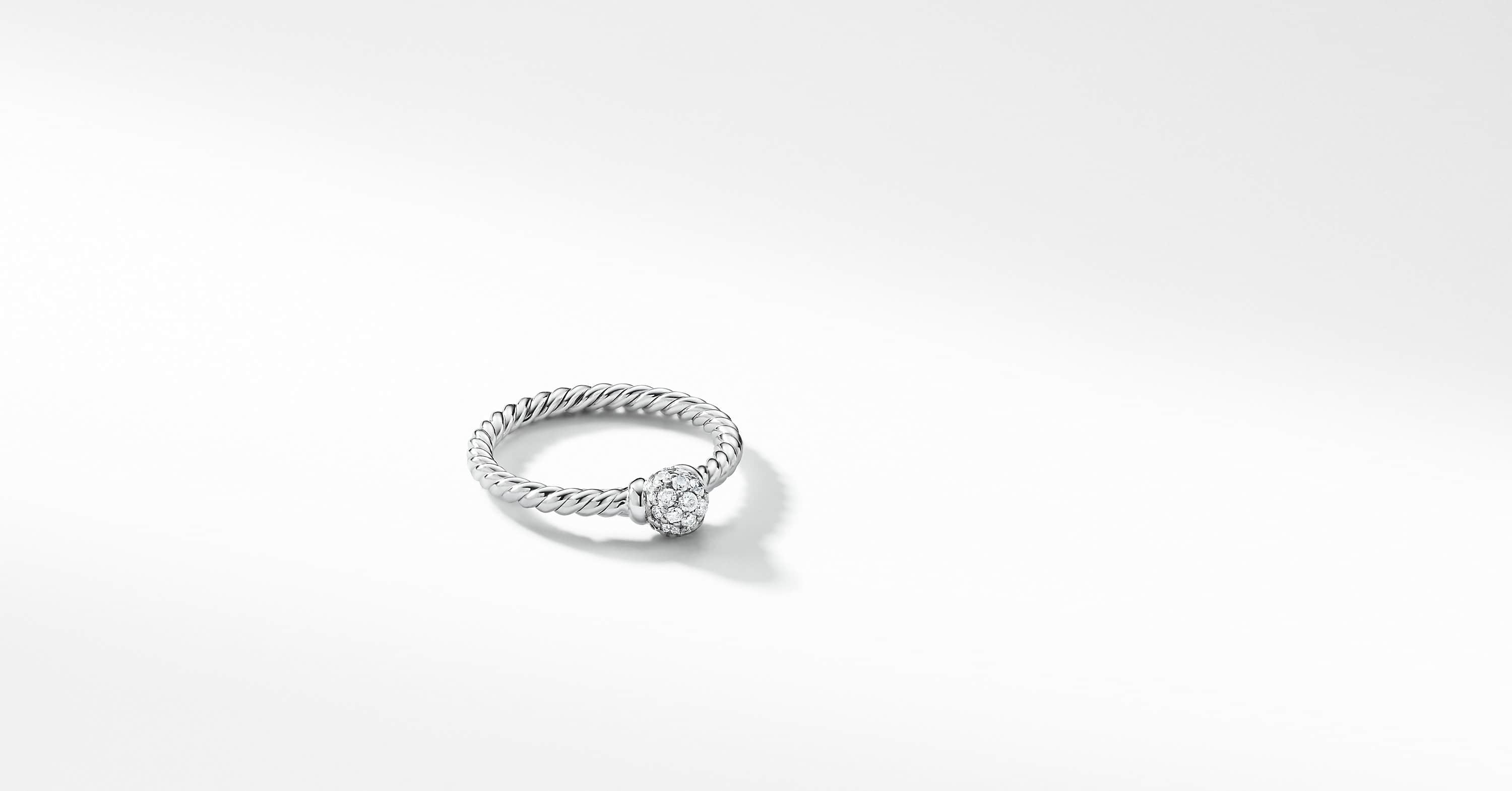 Petite Solari Station Ring with Diamonds in 18K White Gold