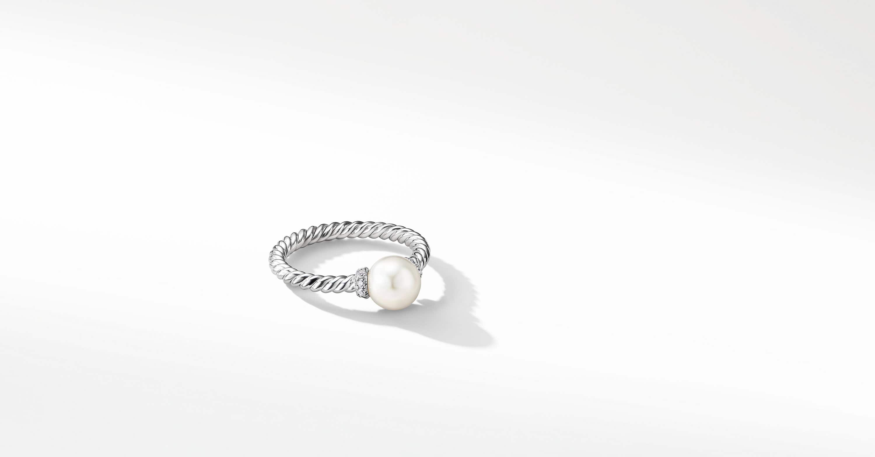 Solari Station Ring with Pearl and Diamonds in 18K White Gold