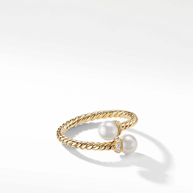 Petite Solari Bypass Ring in 18K Yellow Gold with Diamonds
