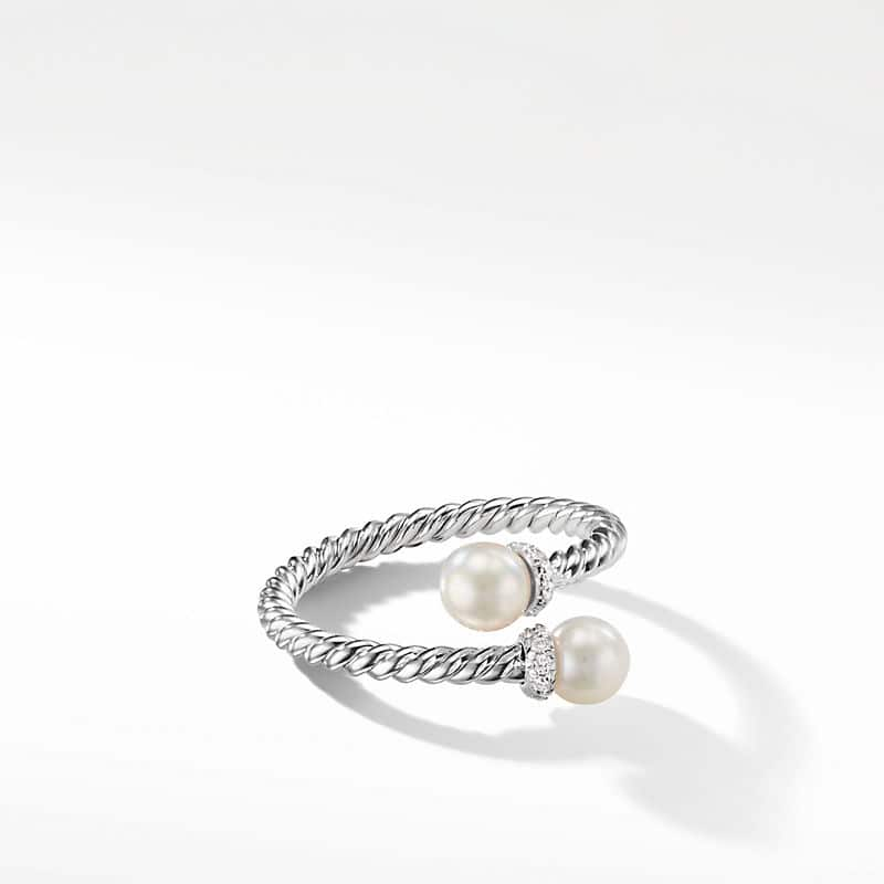 Petite Solari Bypass Ring with Pearl and Diamonds in 18K White Gold