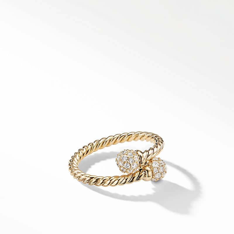 Petite Solari Bypass Ring in 18K Yellow Gold with Pavé