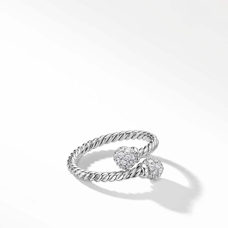 Petite Solari Bypass Ring with Diamonds in 18K White Gold