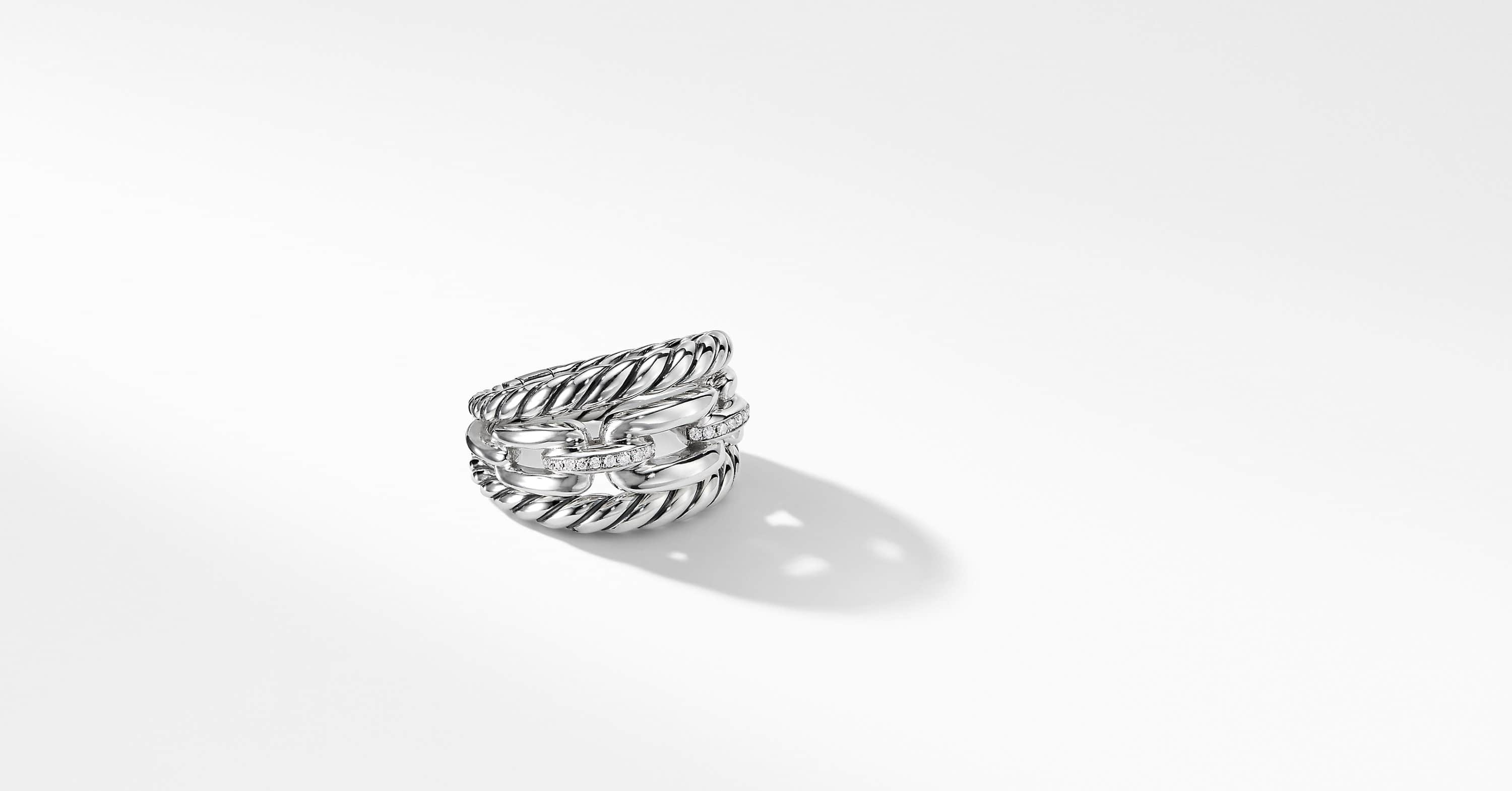 Wellesley Link Three-Row Ring with Diamonds