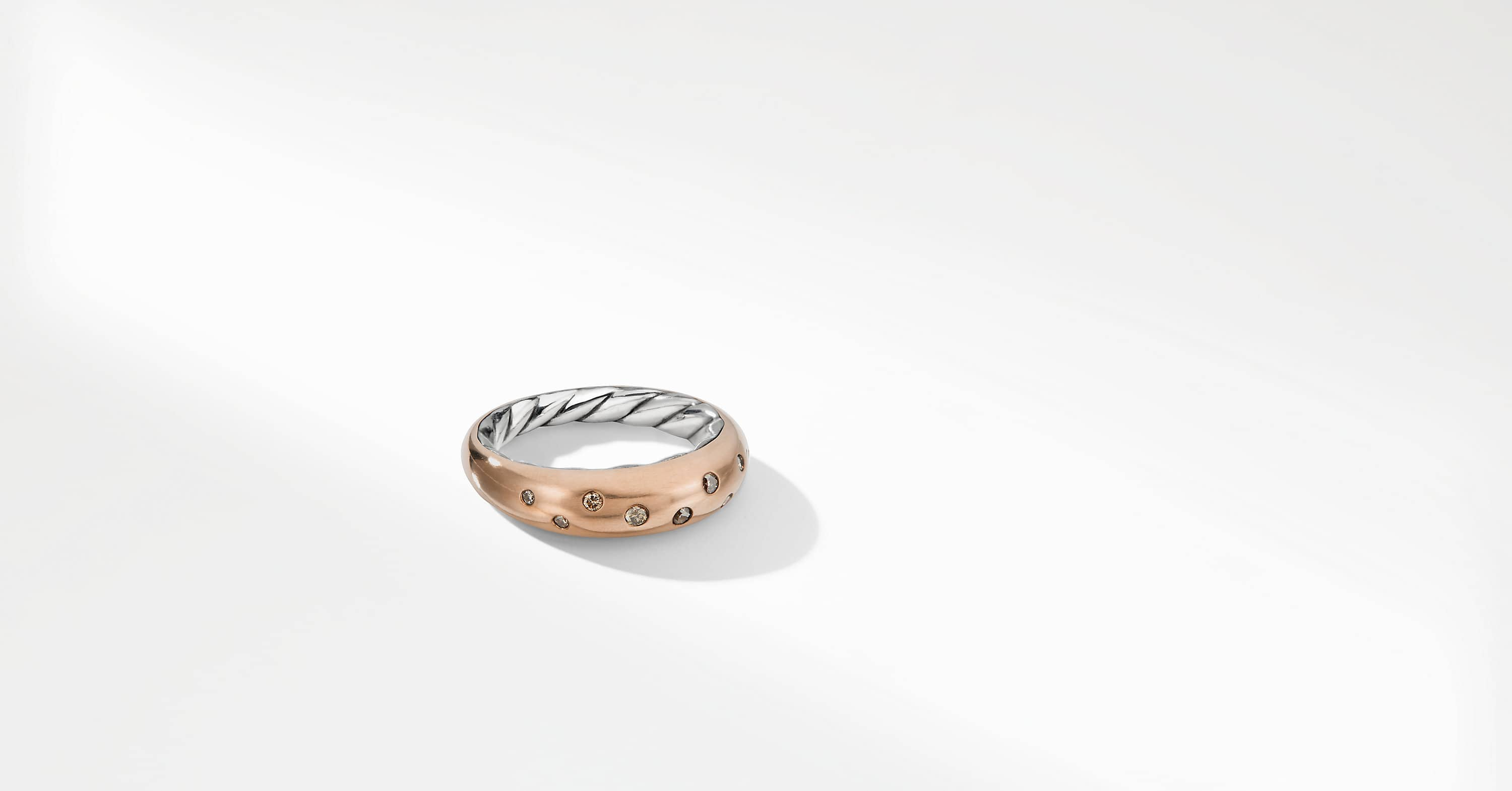Pure Form Mixed Metal Single Row Ring with Diamonds