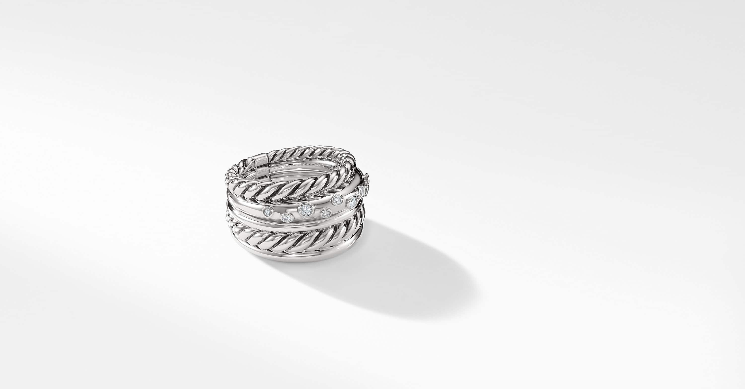 Pure Form Wide Ring with Diamonds
