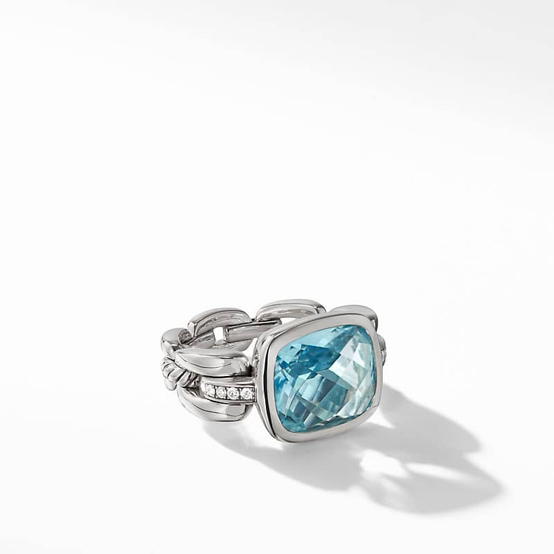 Wellesley Link Statement Ring with Sky Blue Topaz