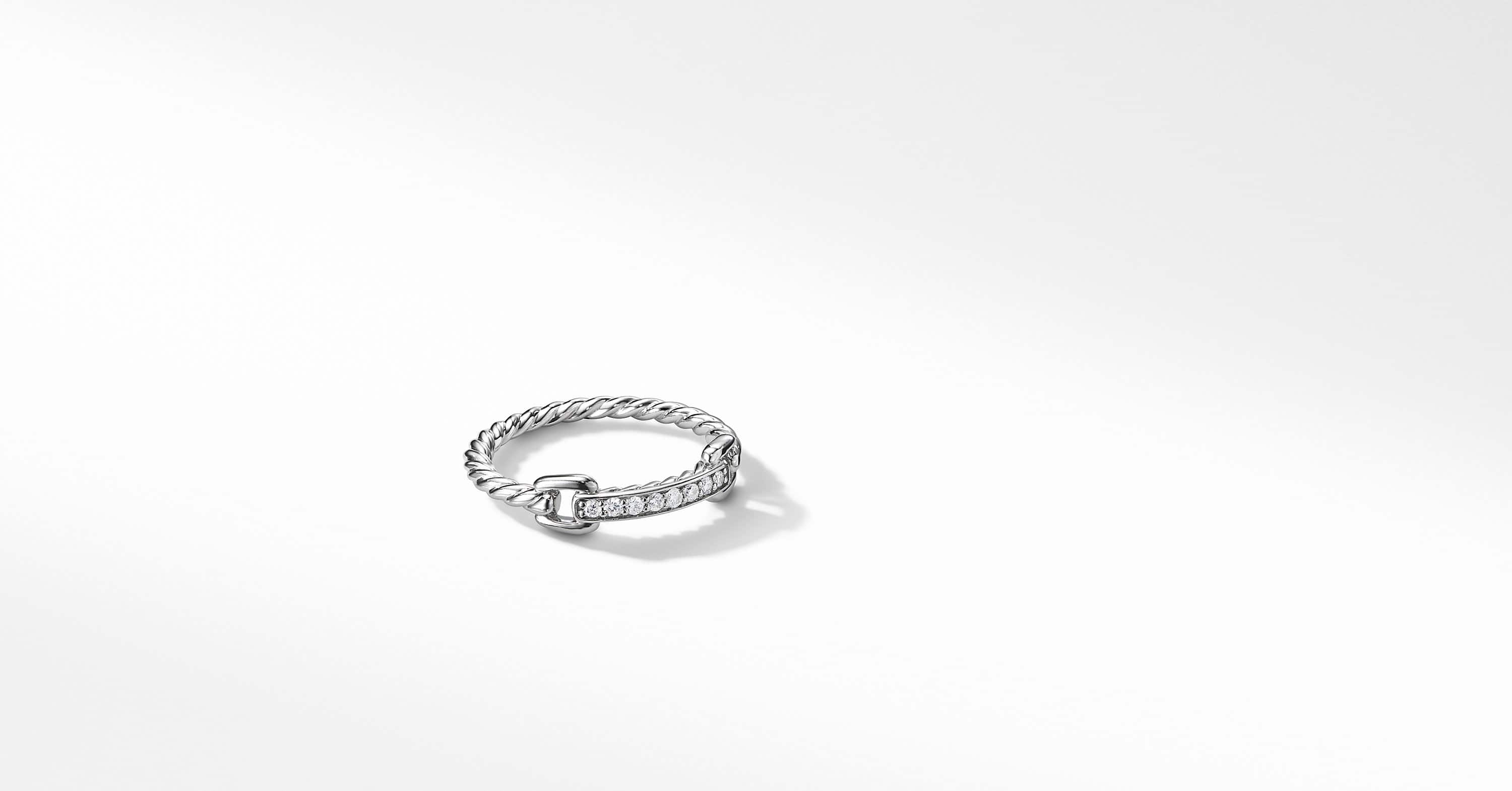 Petite Pavé Ring with Diamonds in 18K White Gold