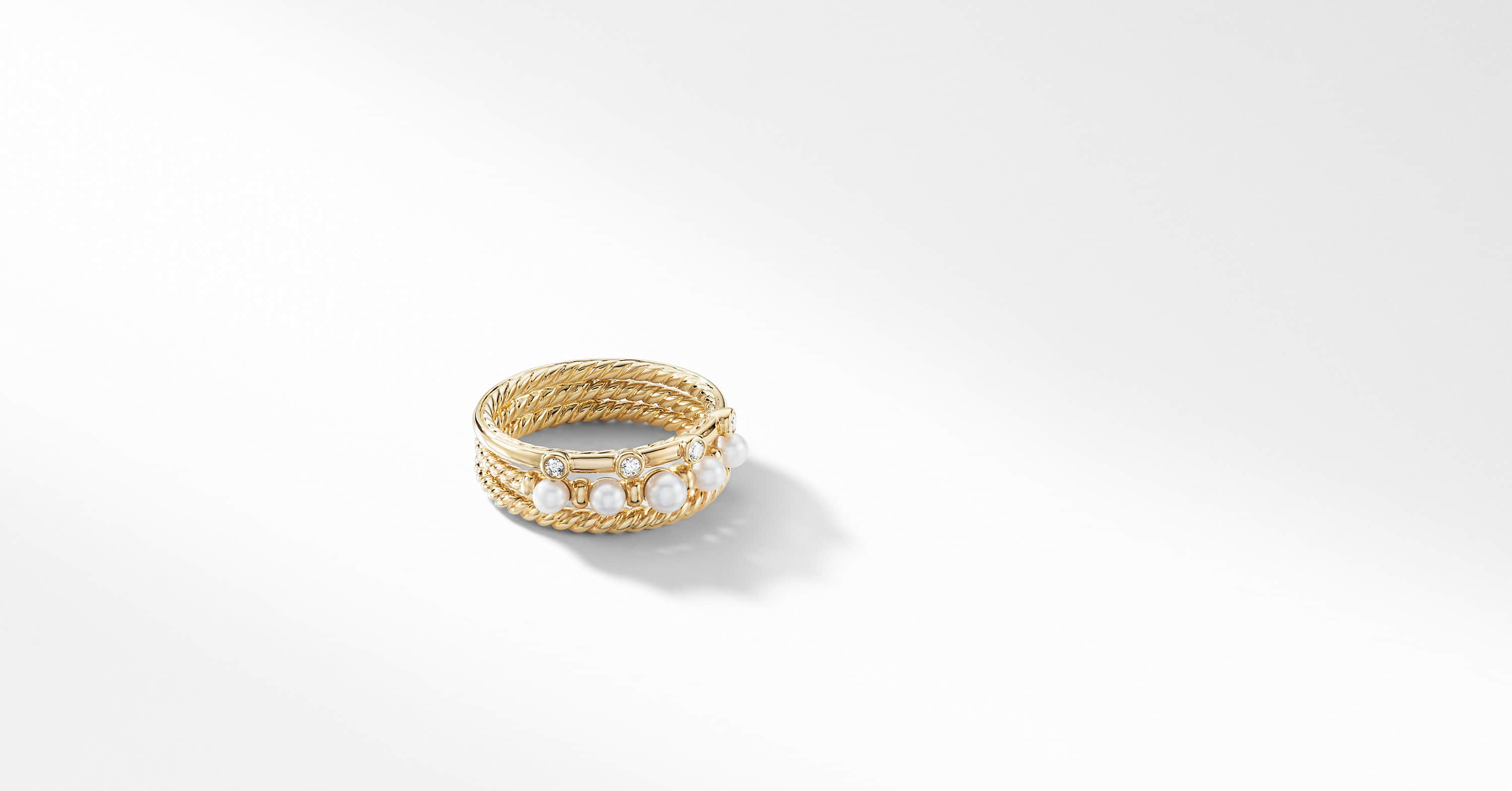 Petite Perle Narrow Multi Row Ring with Pearls and Diamonds in 18K Gold