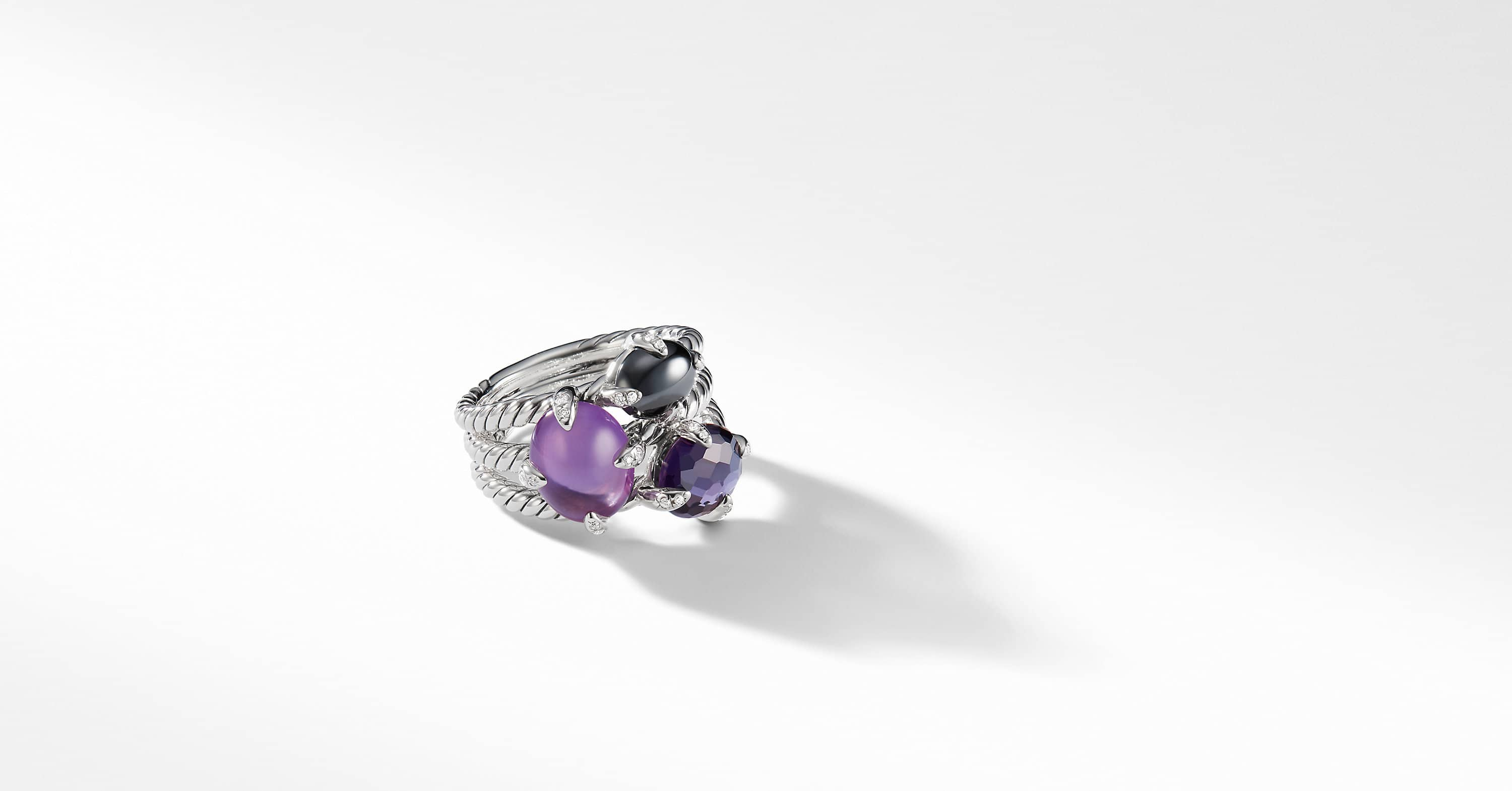 Chatelaine Three Stone Ring with Diamonds