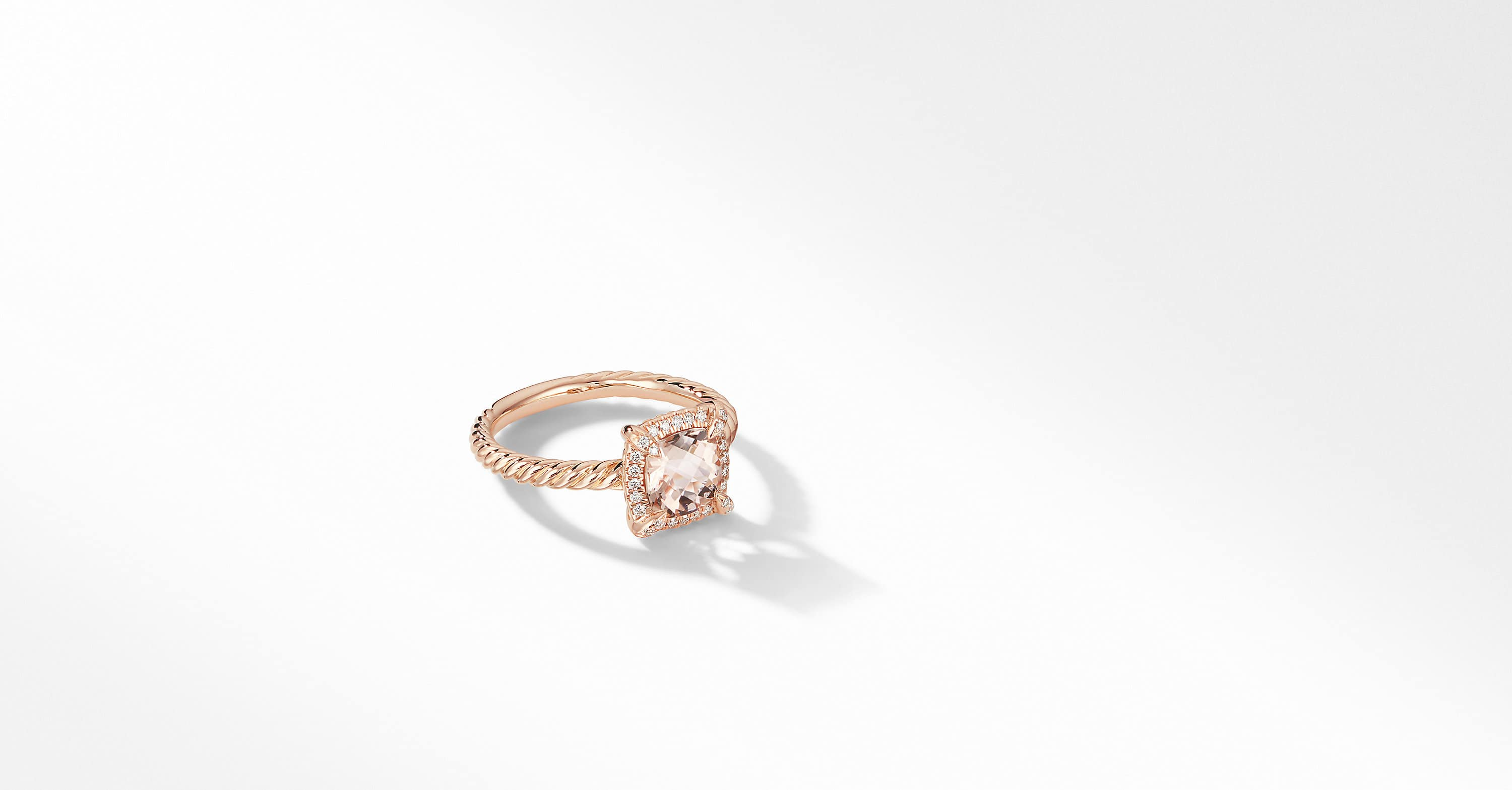 Petite Chatelaine Pavé Bezel Ring in 18K Rose Gold, 7mm