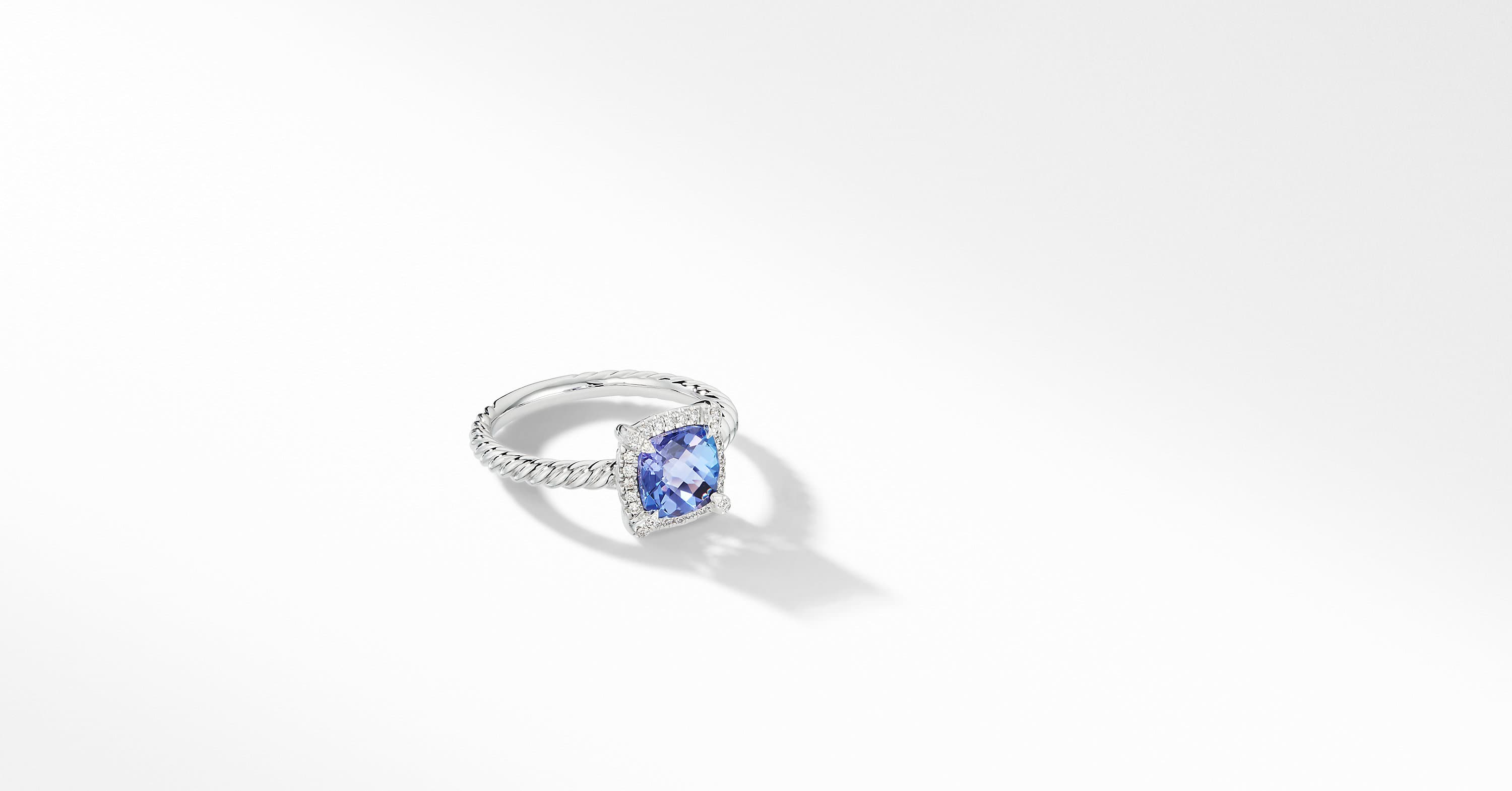 Petite Chatelaine Pavé Bezel Ring in 18K White Gold, 7mm