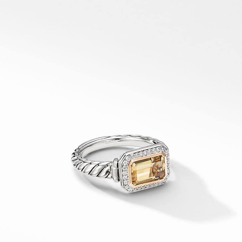 Novella Ring with Pavé and 18K Rose Gold