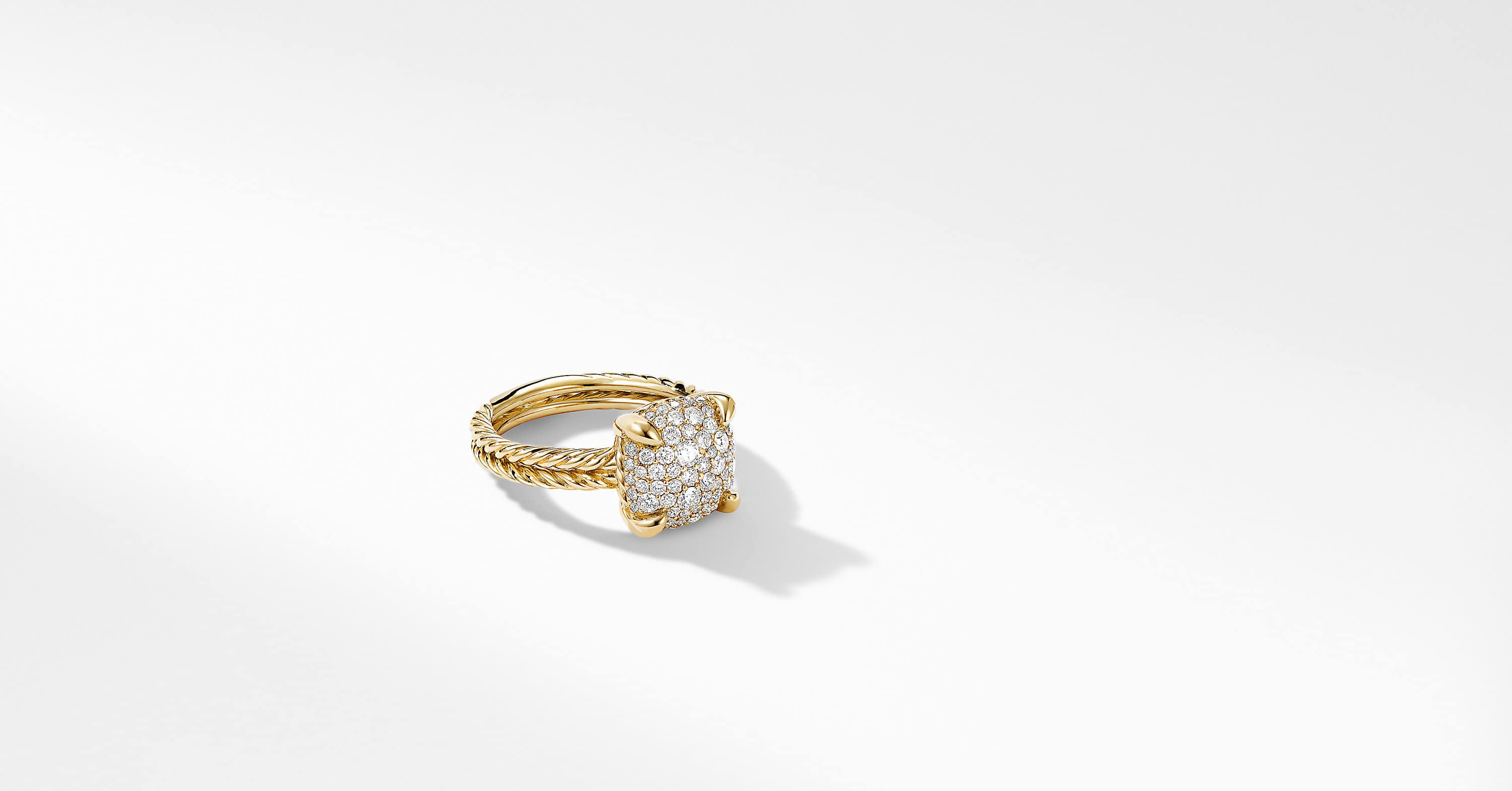 Chatelaine Ring in 18K Yellow Gold with Full Pavé, 11mm