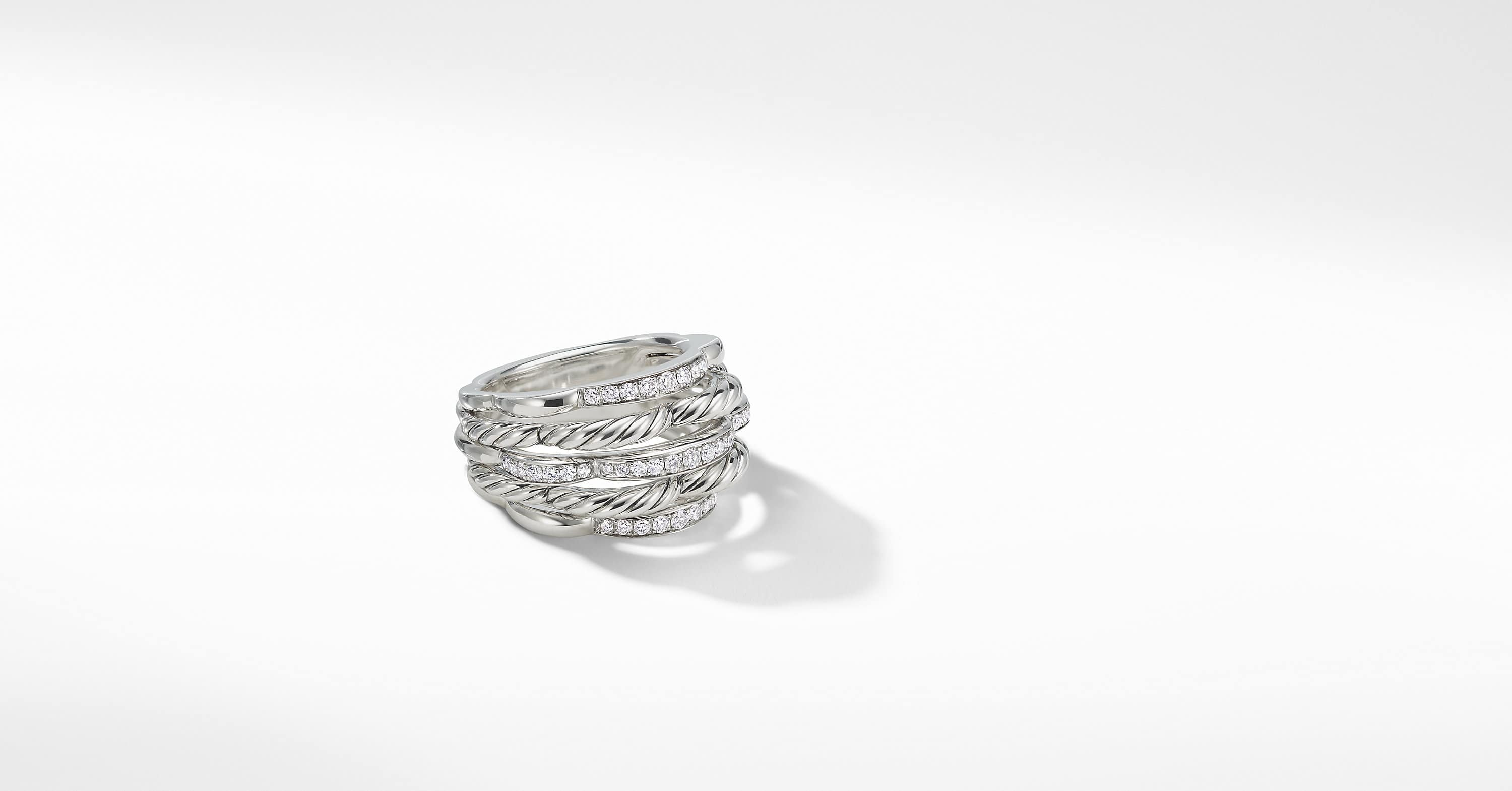 Tides Dome Ring with Diamonds, 15mm