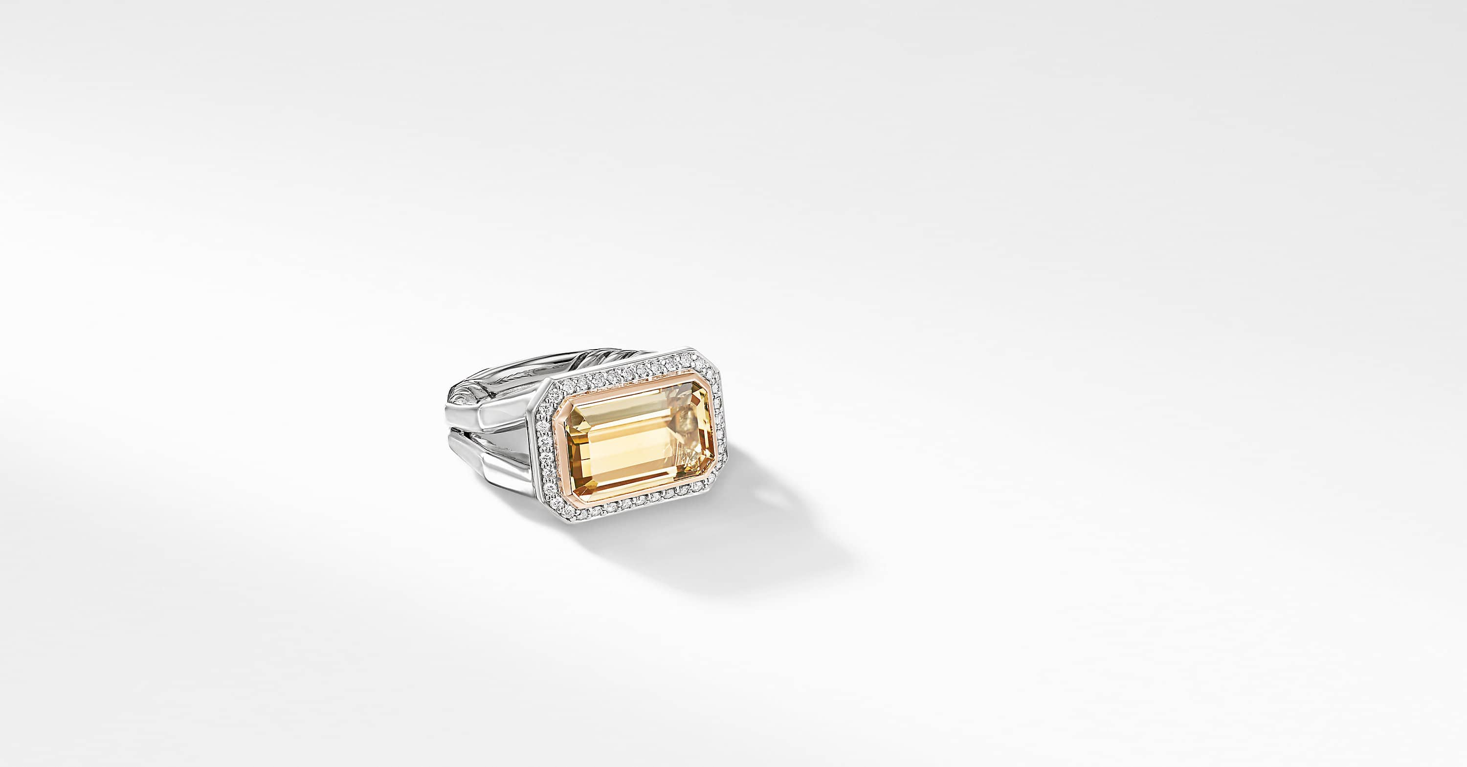 Novella Statement Ring with Pavé and 18K Rose Gold, 14mm
