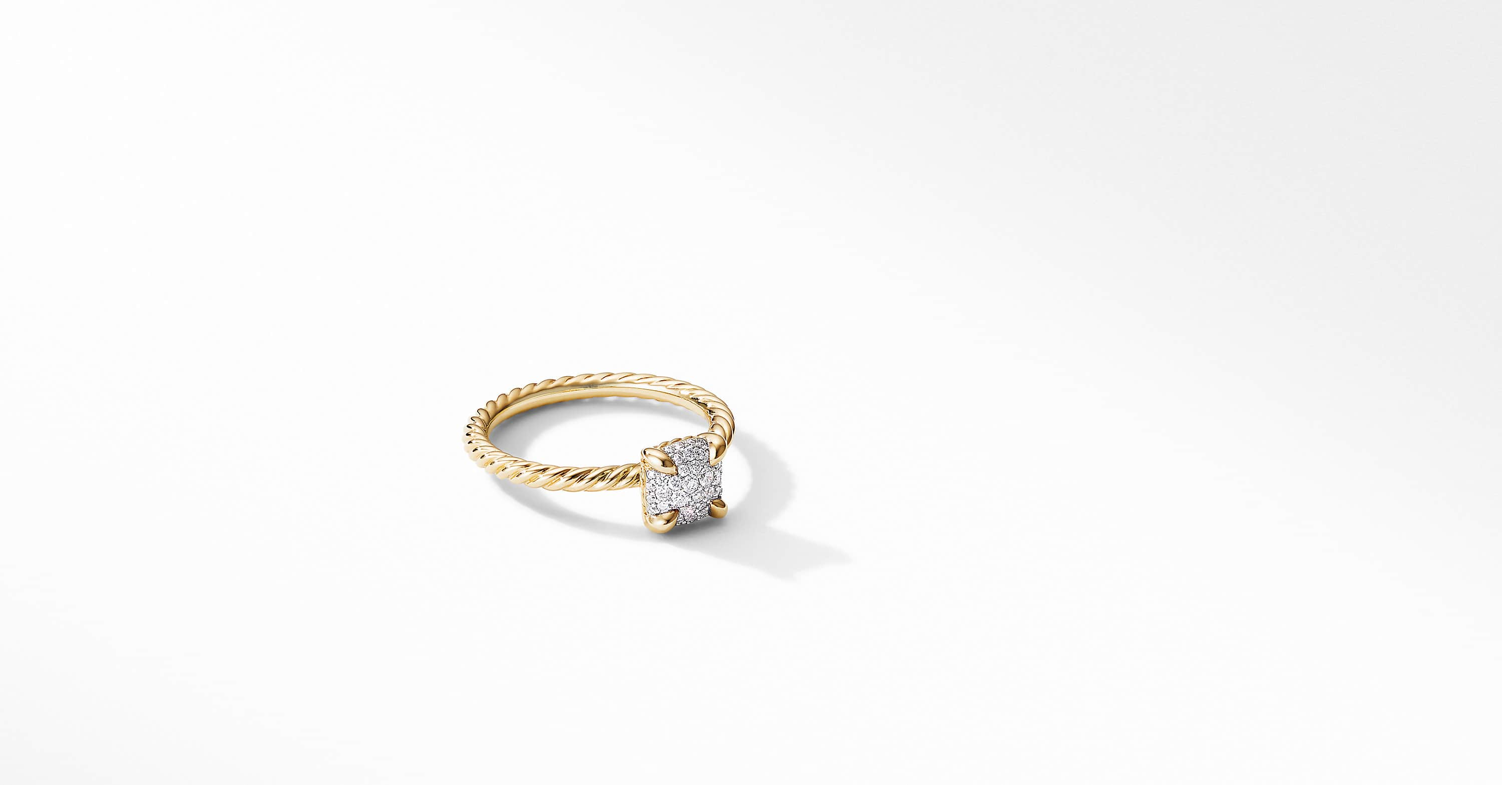 Chatelaine Ring in 18K Yellow Gold with Full Pavé, 7mm