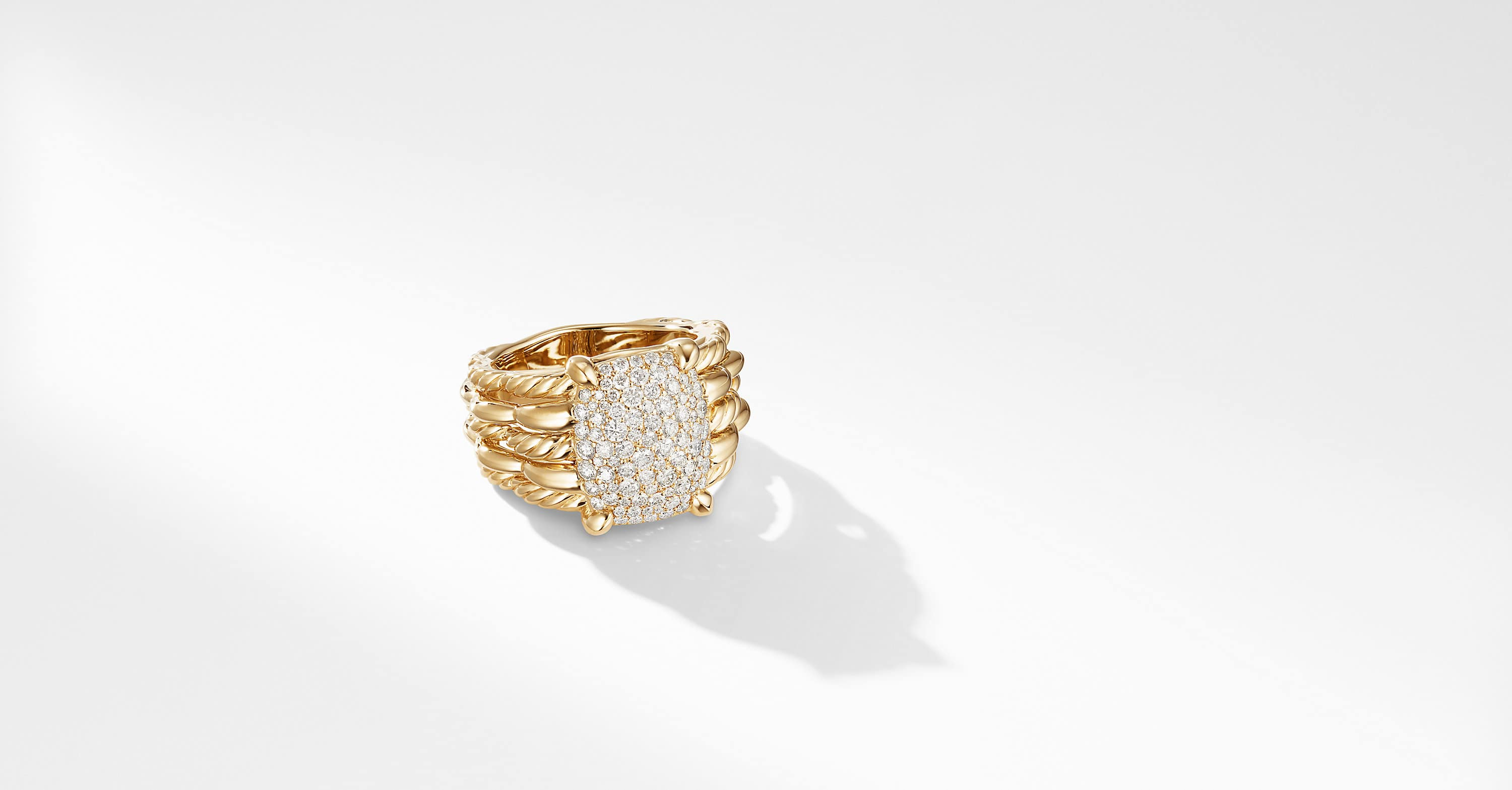 Tides Statement Ring in 18K Yellow Gold with Pavé Plate