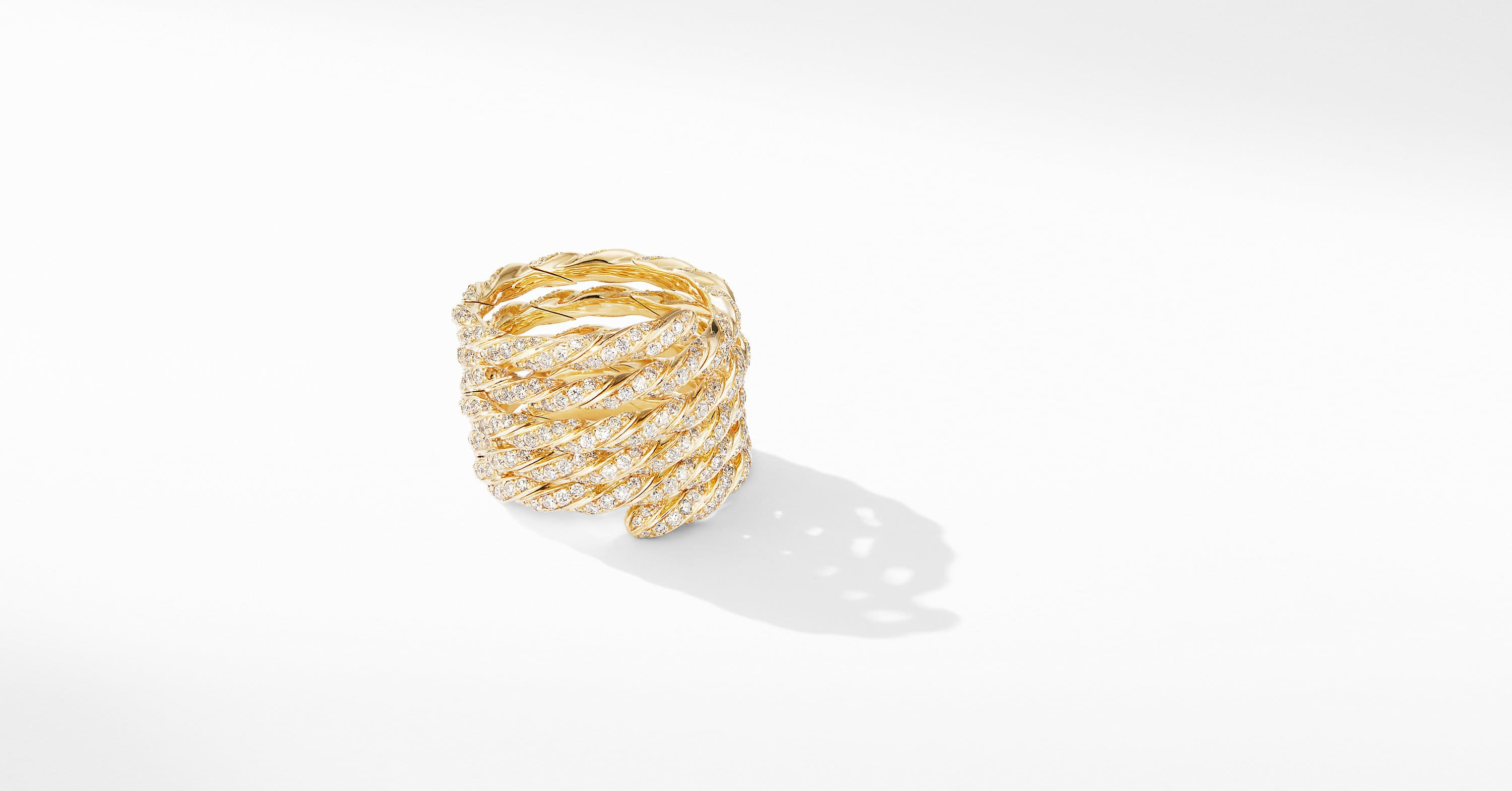 Paveflex Coil Ring in 18K Yellow Gold with Diamonds