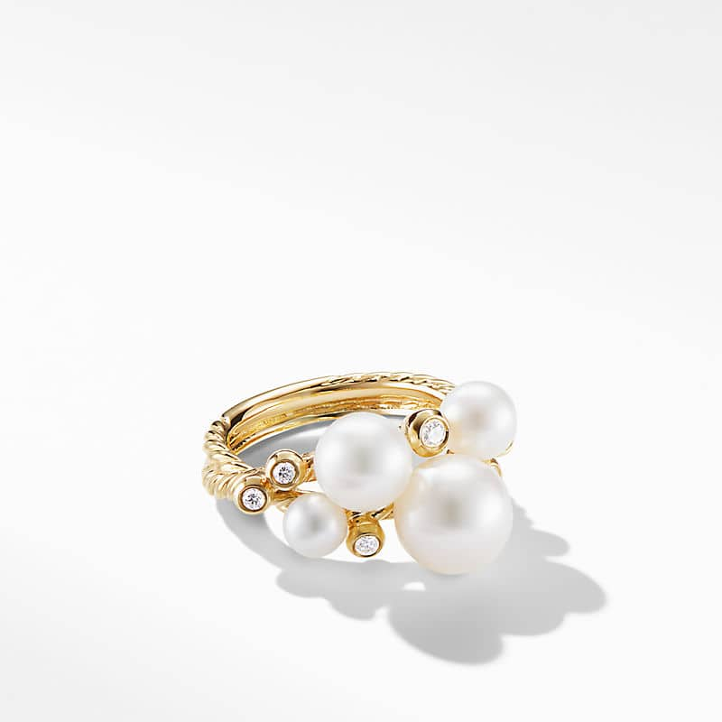 Pearl Cluster Ring in 18K Yellow Gold with Diamonds