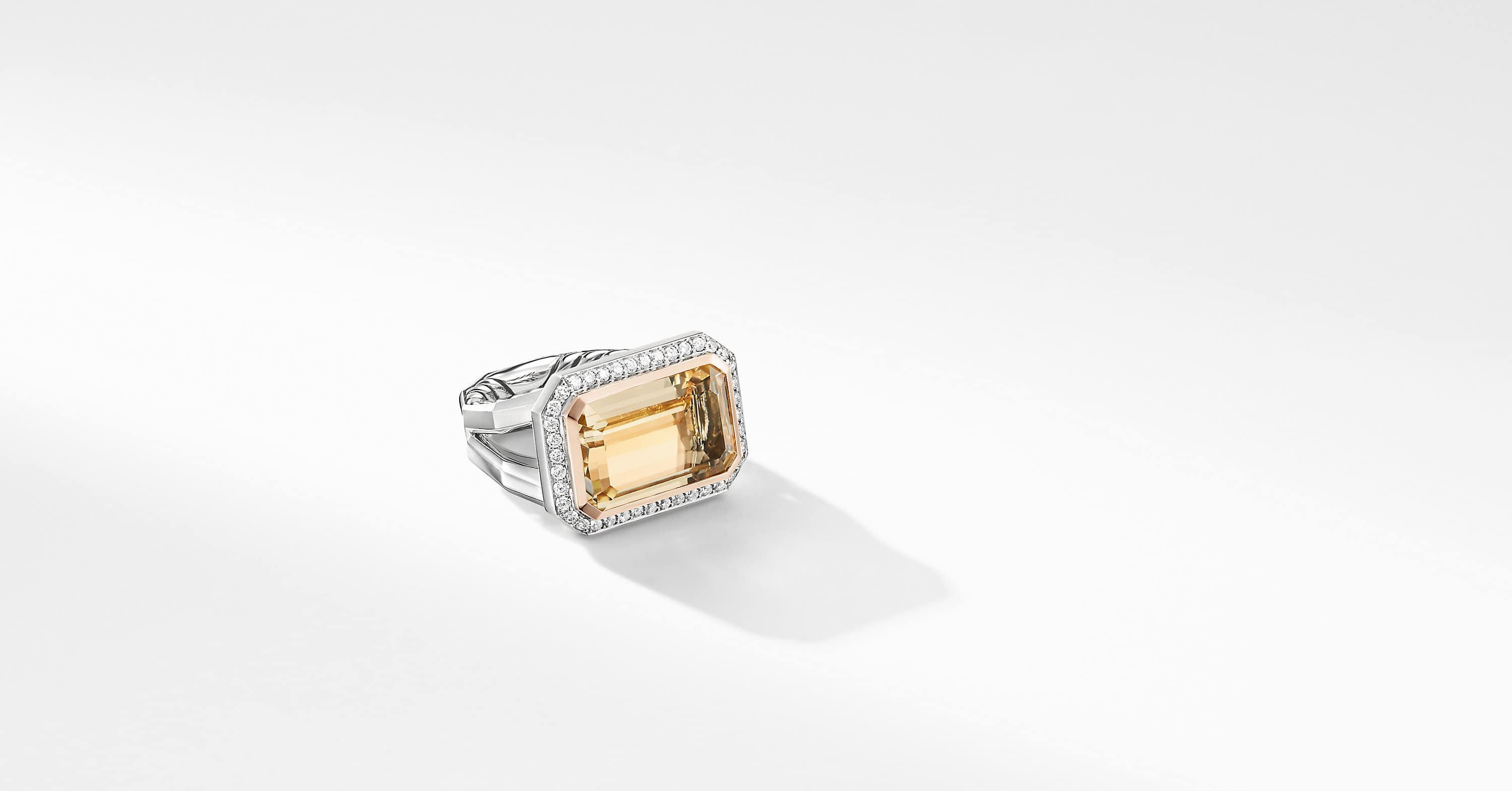 Novella Statement Ring with Pavé and 18K Rose Gold, 17mm