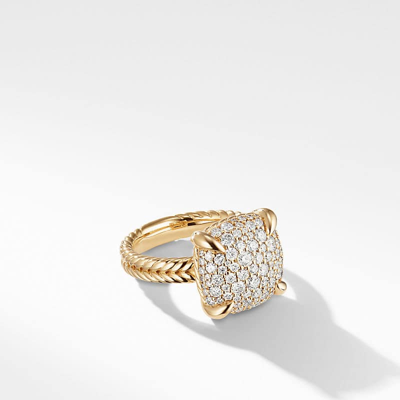 Chatelaine Ring in 18K Yellow Gold with Diamonds, 14mm