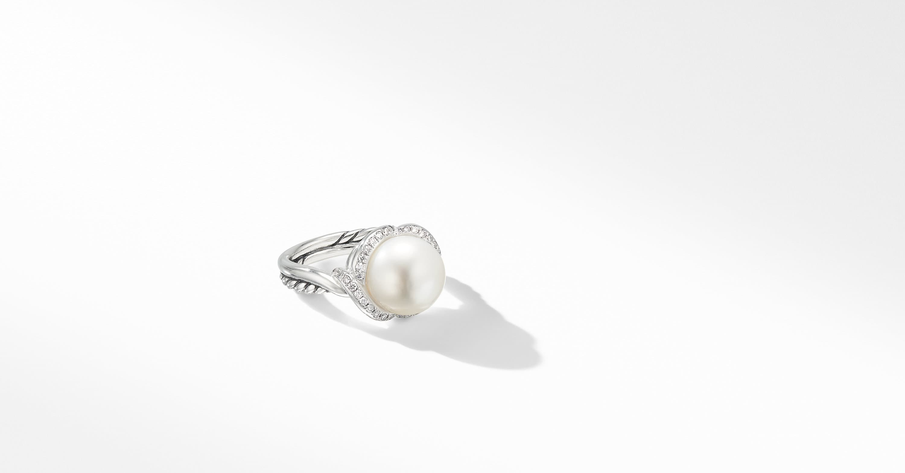 Continuance Pearl Ring with Diamonds