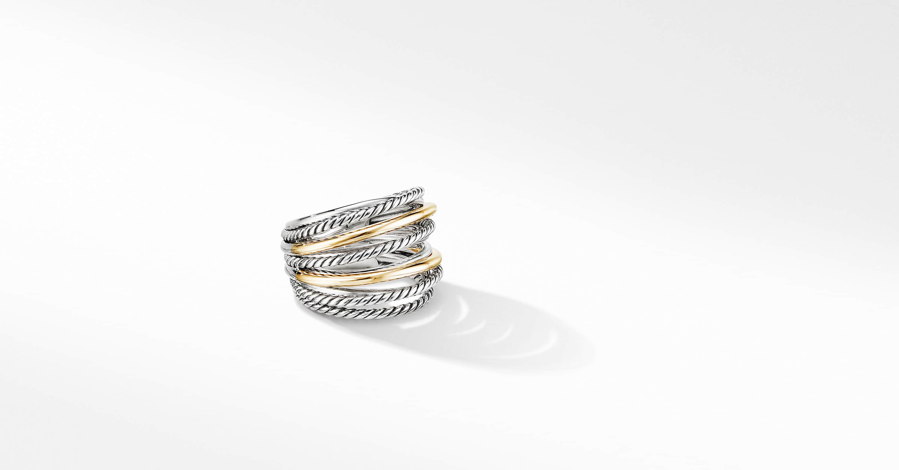 The Crossover Collection Wide Ring with 18K Yellow Gold