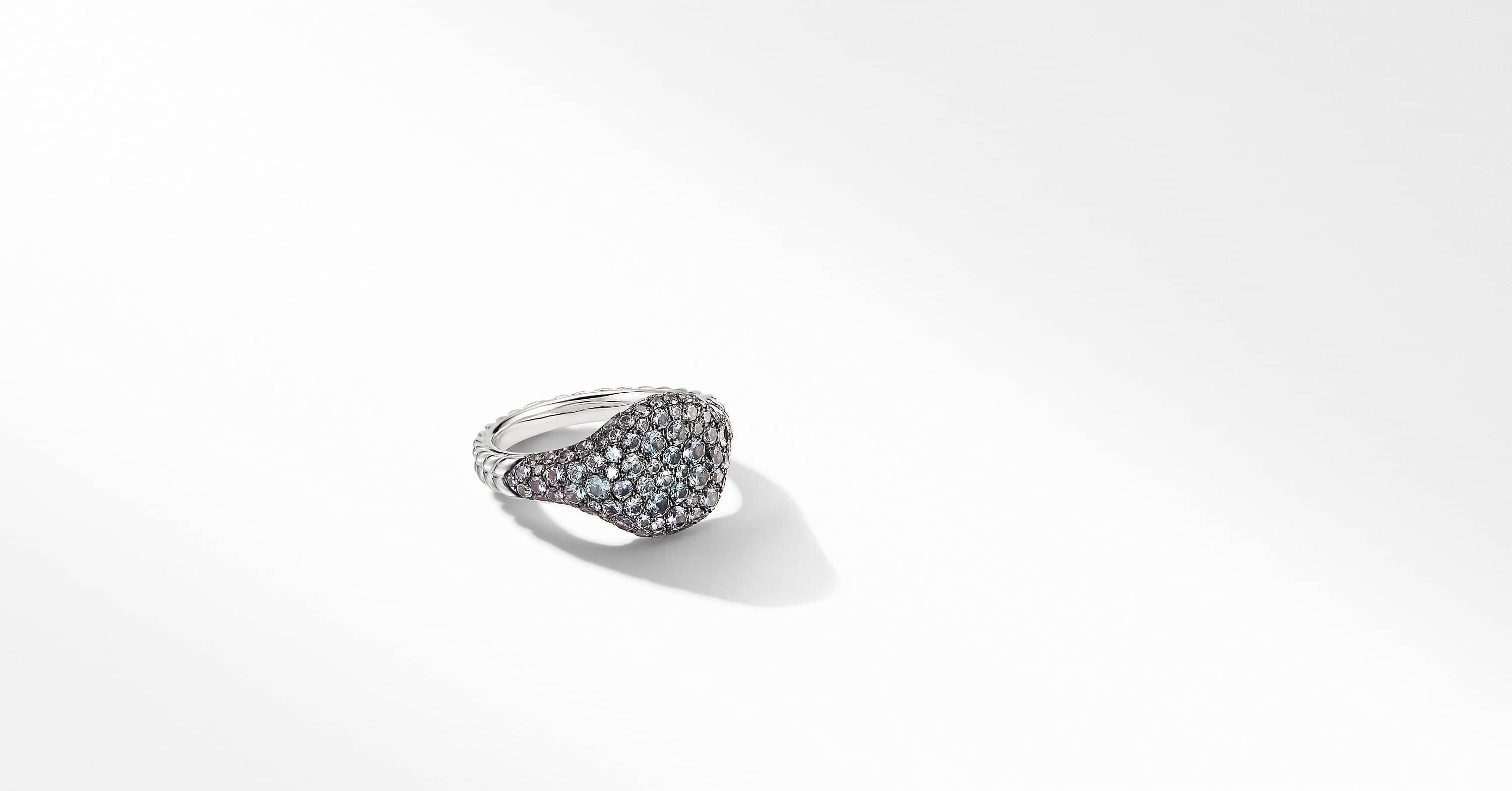 Mini Chevron Pinky Ring in 18K White Gold