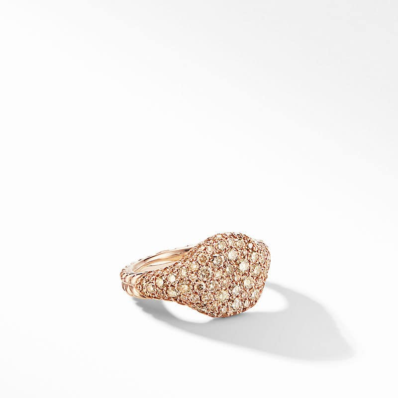 Mini Chevron Pinky Ring in 18K Rose Gold with Pavé