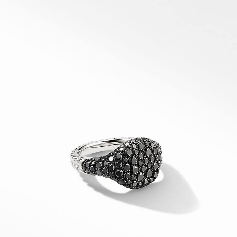Mini Chevron Pinky Ring in 18K White Gold with Pavé