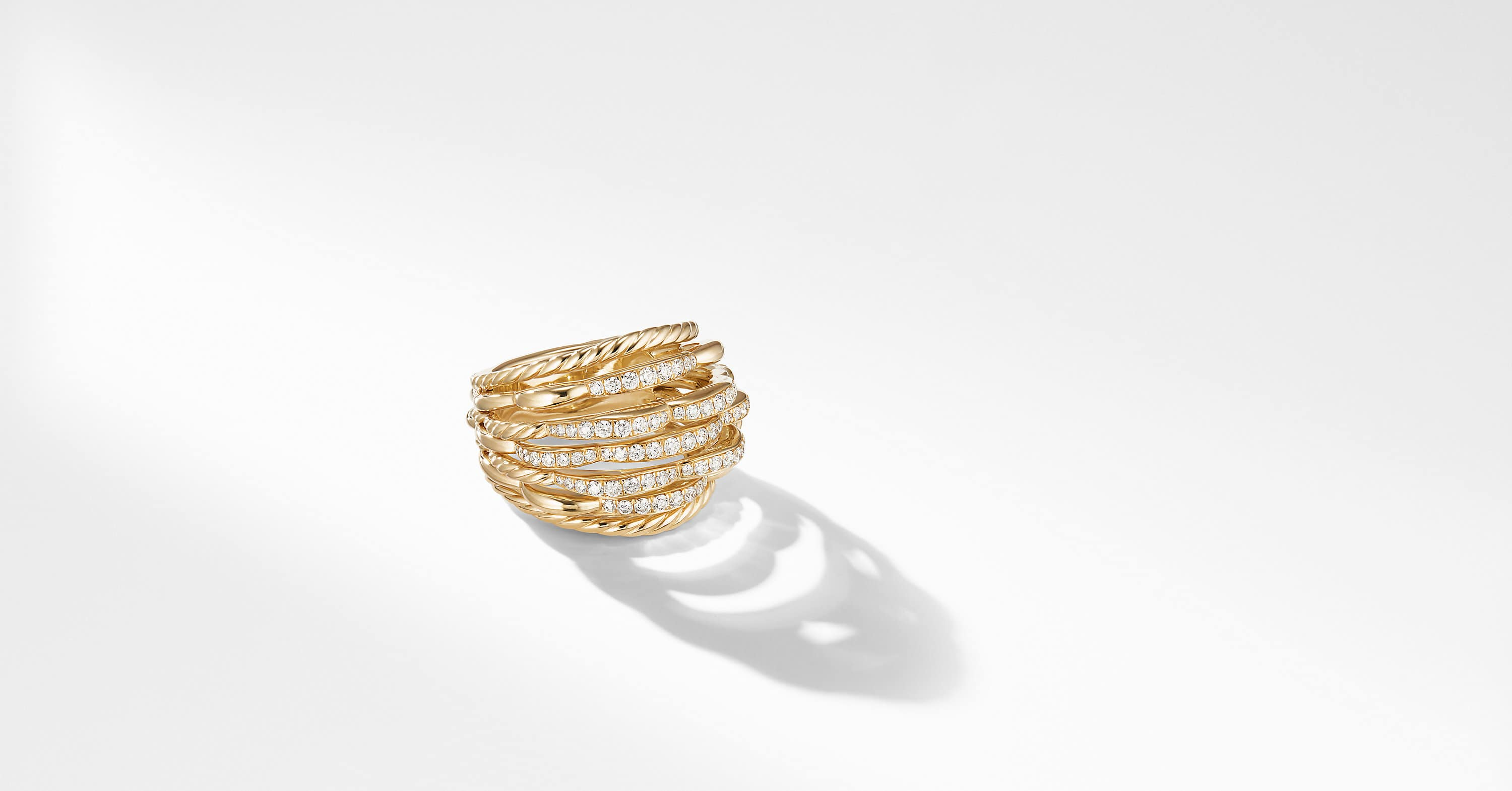 Tides Dome Ring in 18K Yellow Gold with Diamonds, 18mm