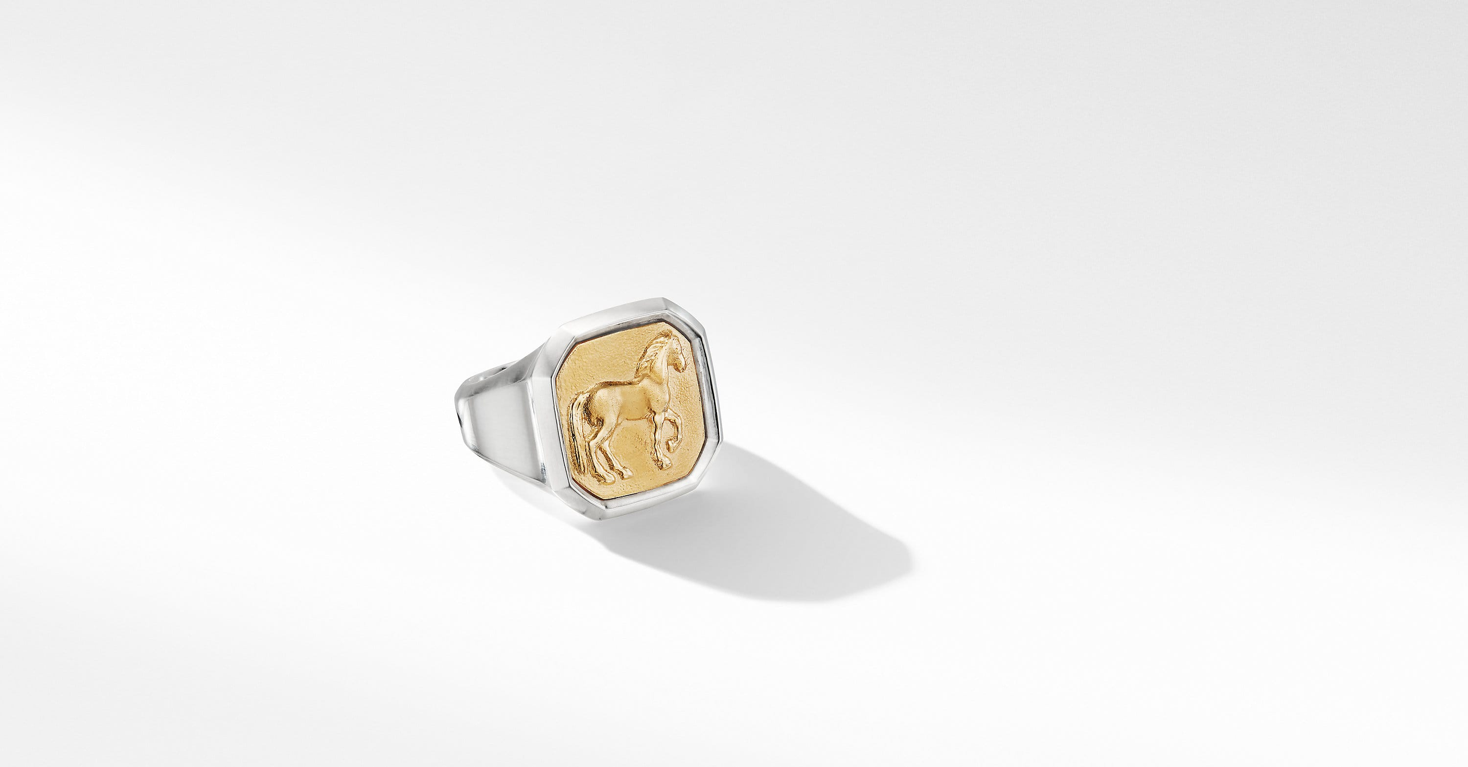 Petrvs Large Horse Ring with 18K Yellow Gold