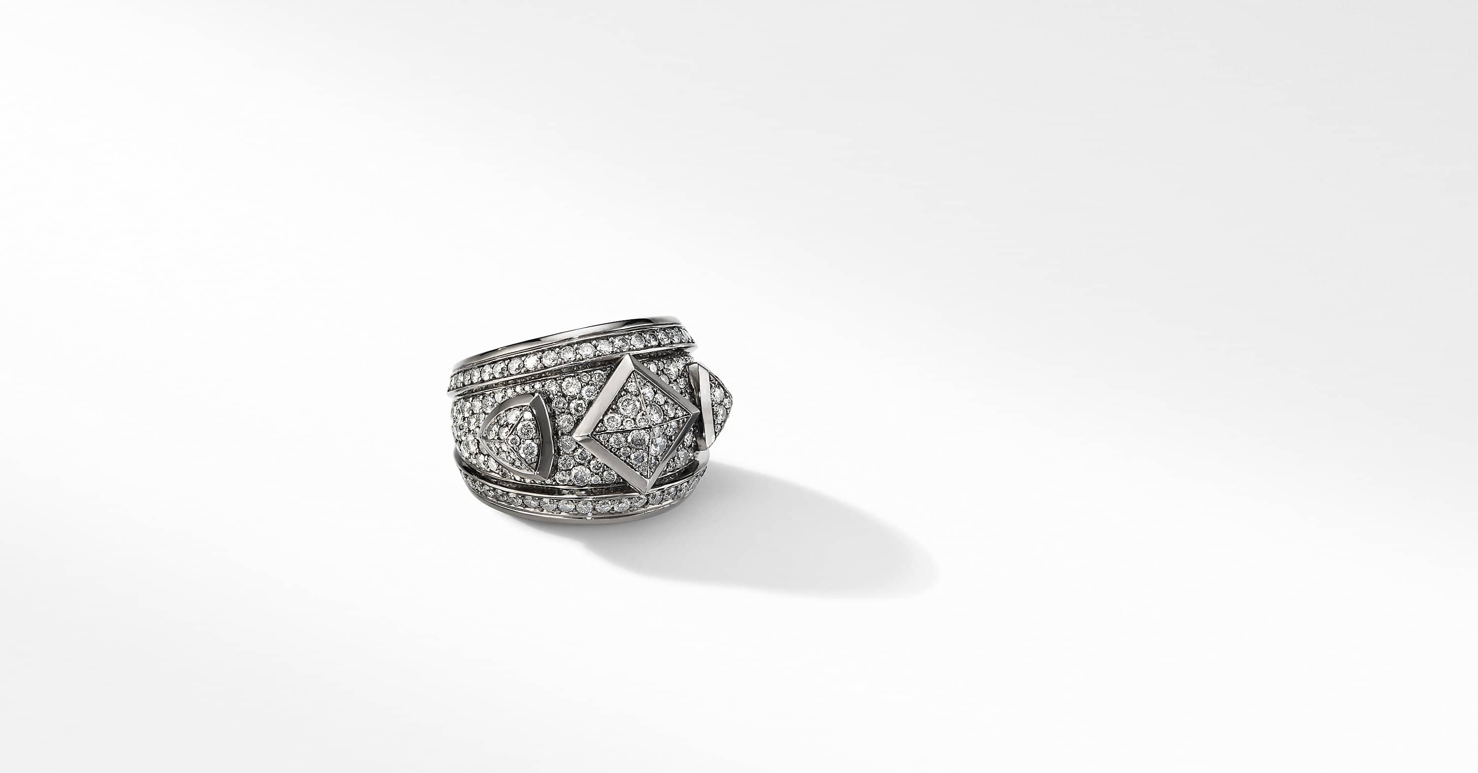 Renaissance Ring in 18K White Gold with Full Pavé