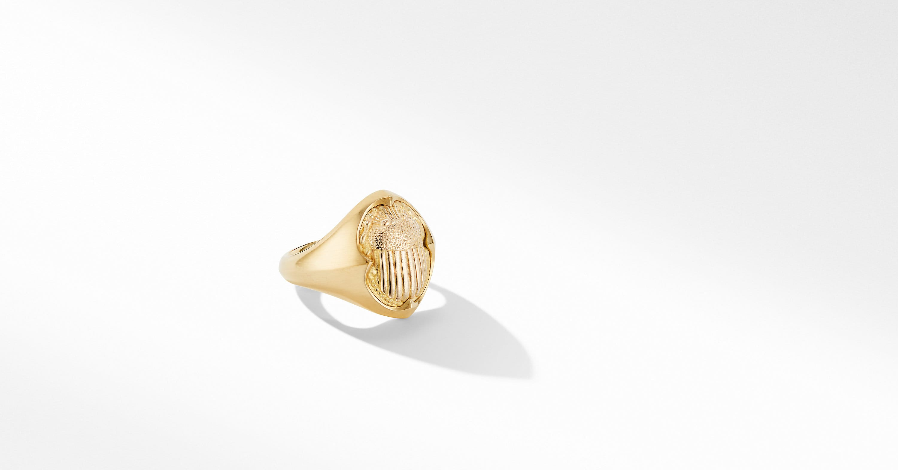 Petrvs Small Scarab Pinky Ring in 18K Yellow Gold