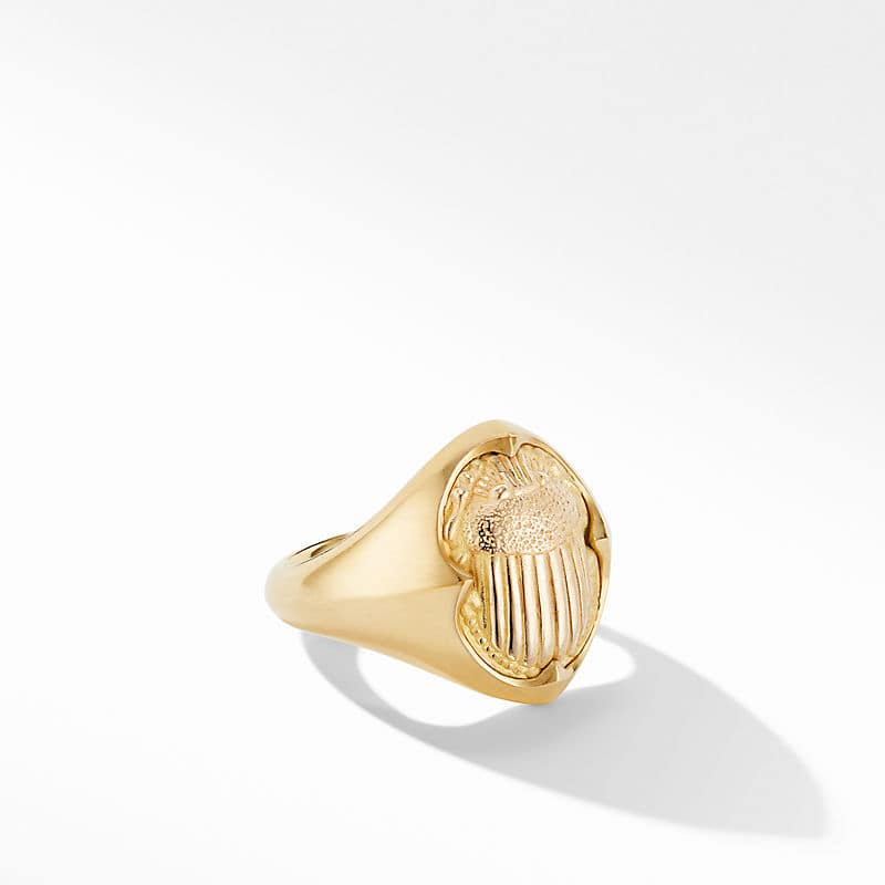 Petrvs® Small Scarab Pinky Ring in 18K Yellow