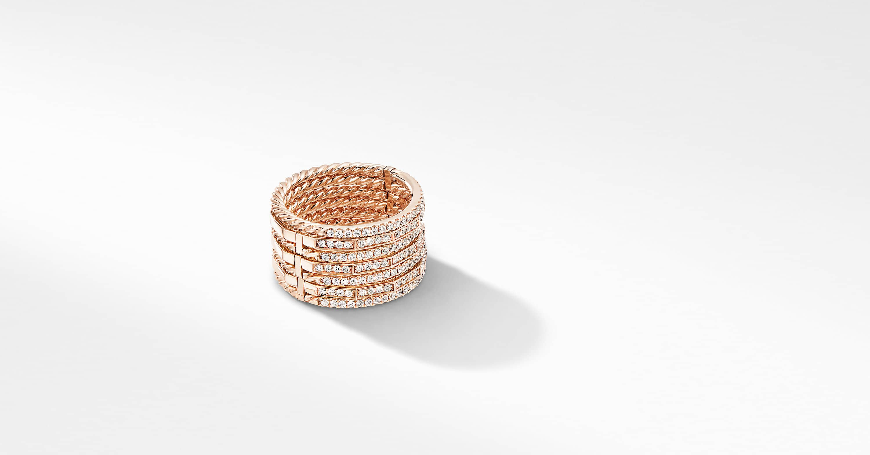 Stax Ring in 18K Rose Gold with Full Pavé