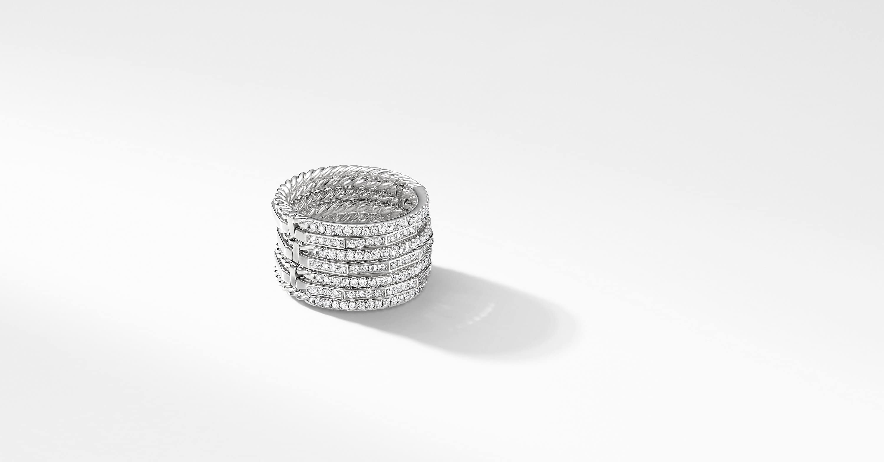 Stax Full Pavé Ring in 18K White Gold