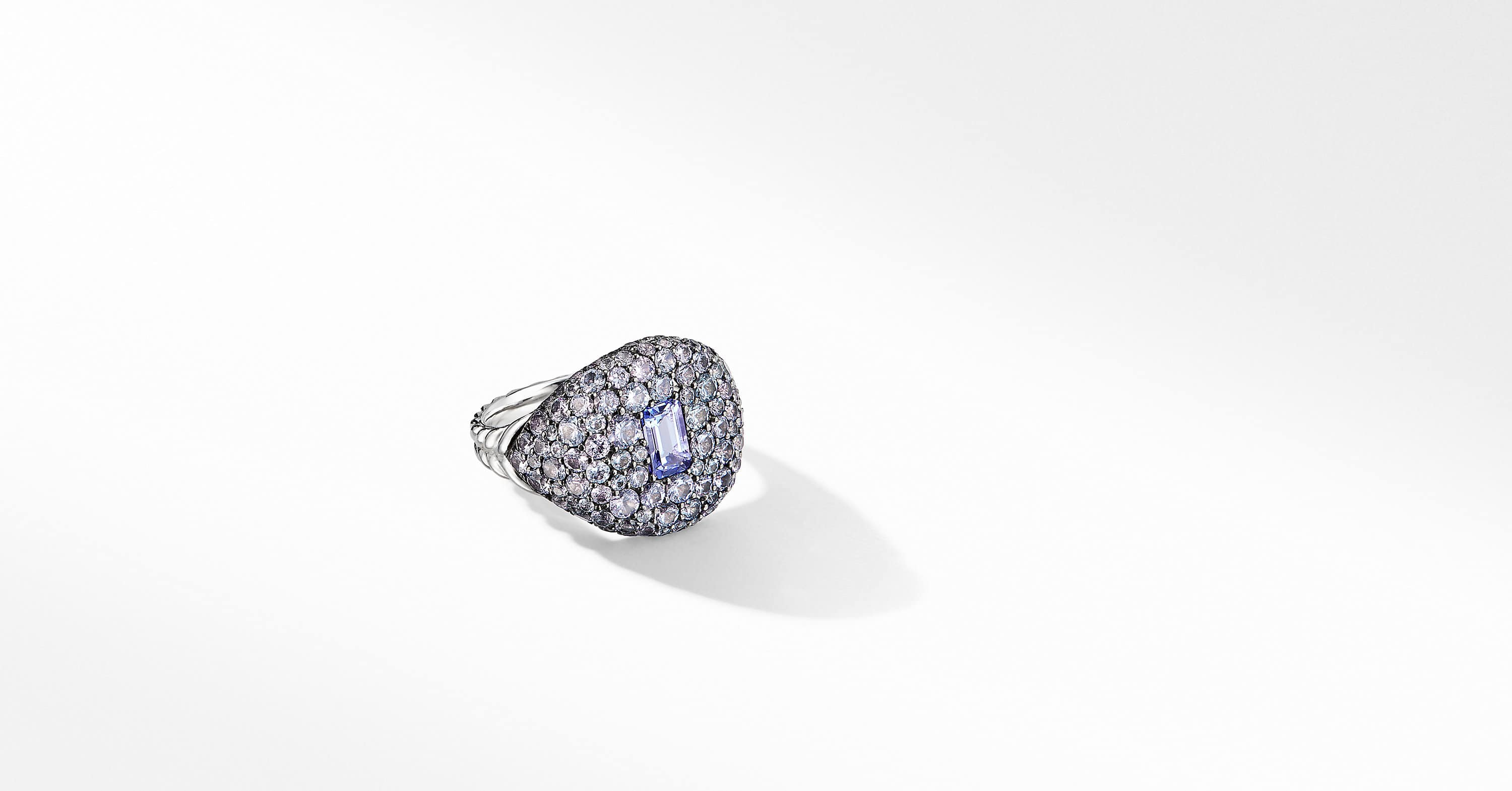 Pavé Pinky Ring in 18K White Gold with Tanzanite