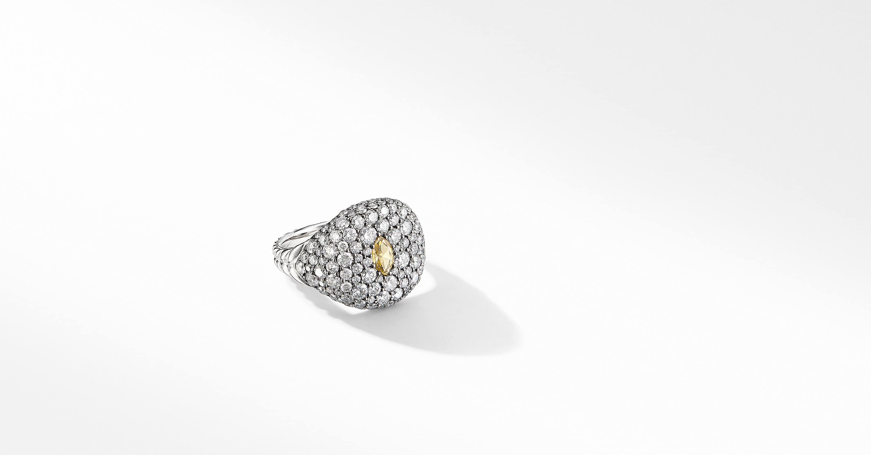 Pavé Pinky Ring in 18K White Gold with a Yellow Diamond