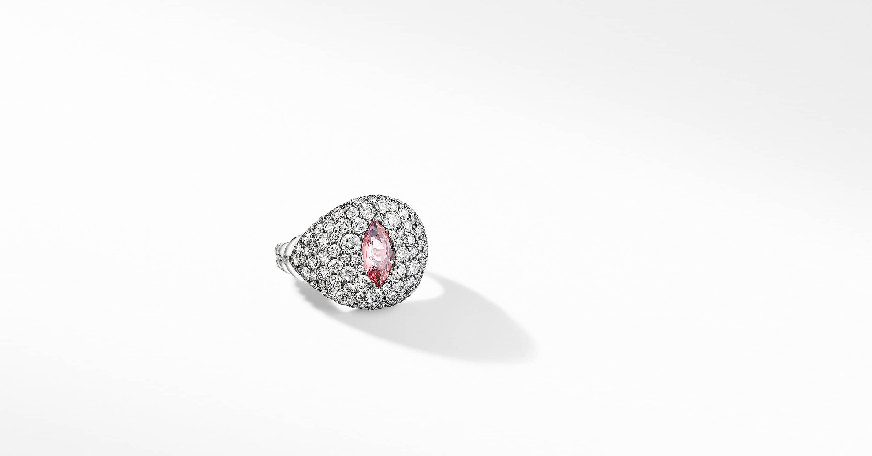 Pavé Pinky Ring in 18K White Gold with Padparascha Sapphires