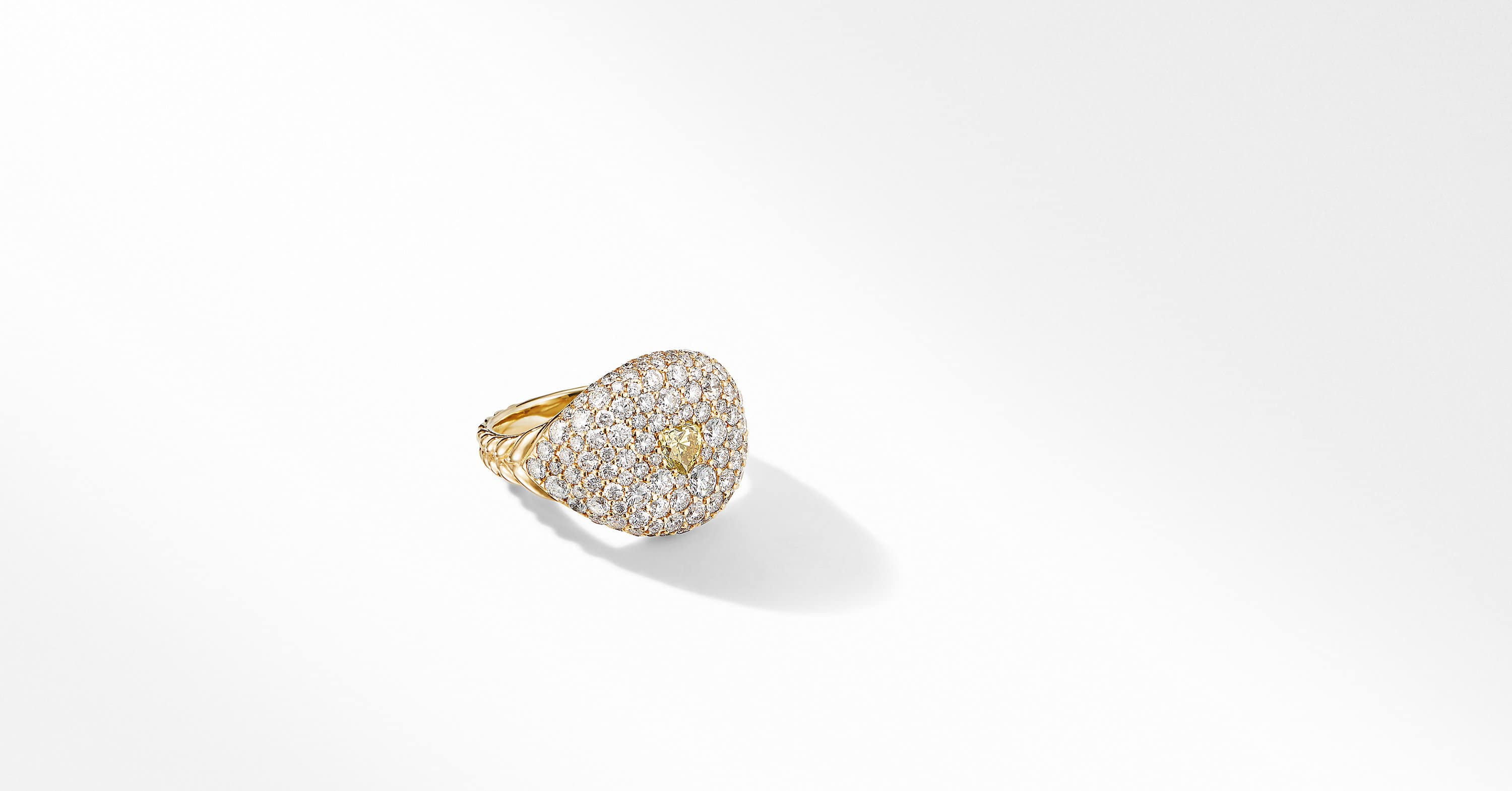 Pavé Pinky Ring in 18K Yellow Gold with a Yellow Diamond