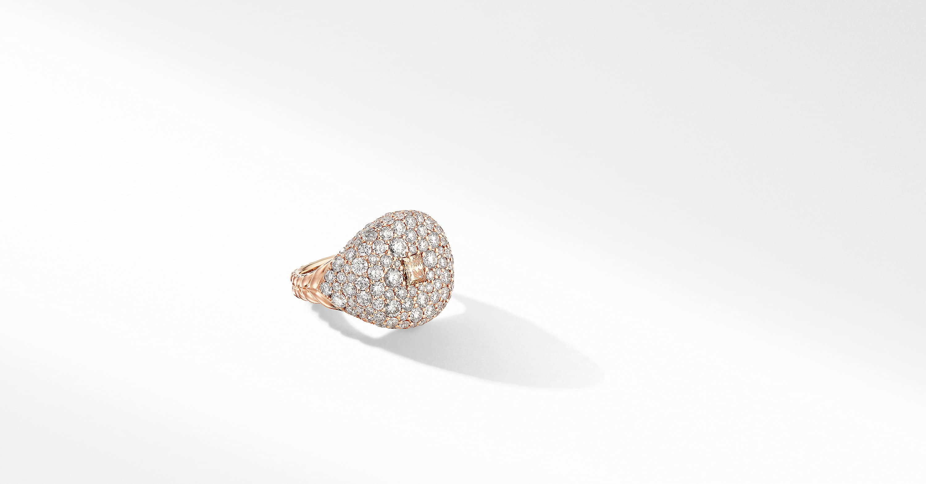 Pavé Pinky Ring in 18K Rose Gold with Cognac Diamonds