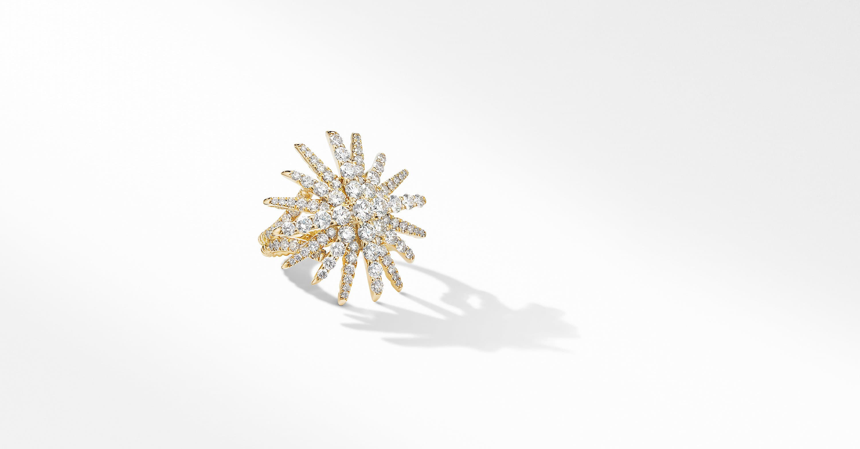Starburst Statement Ring in 18K Yellow Gold with Pavé
