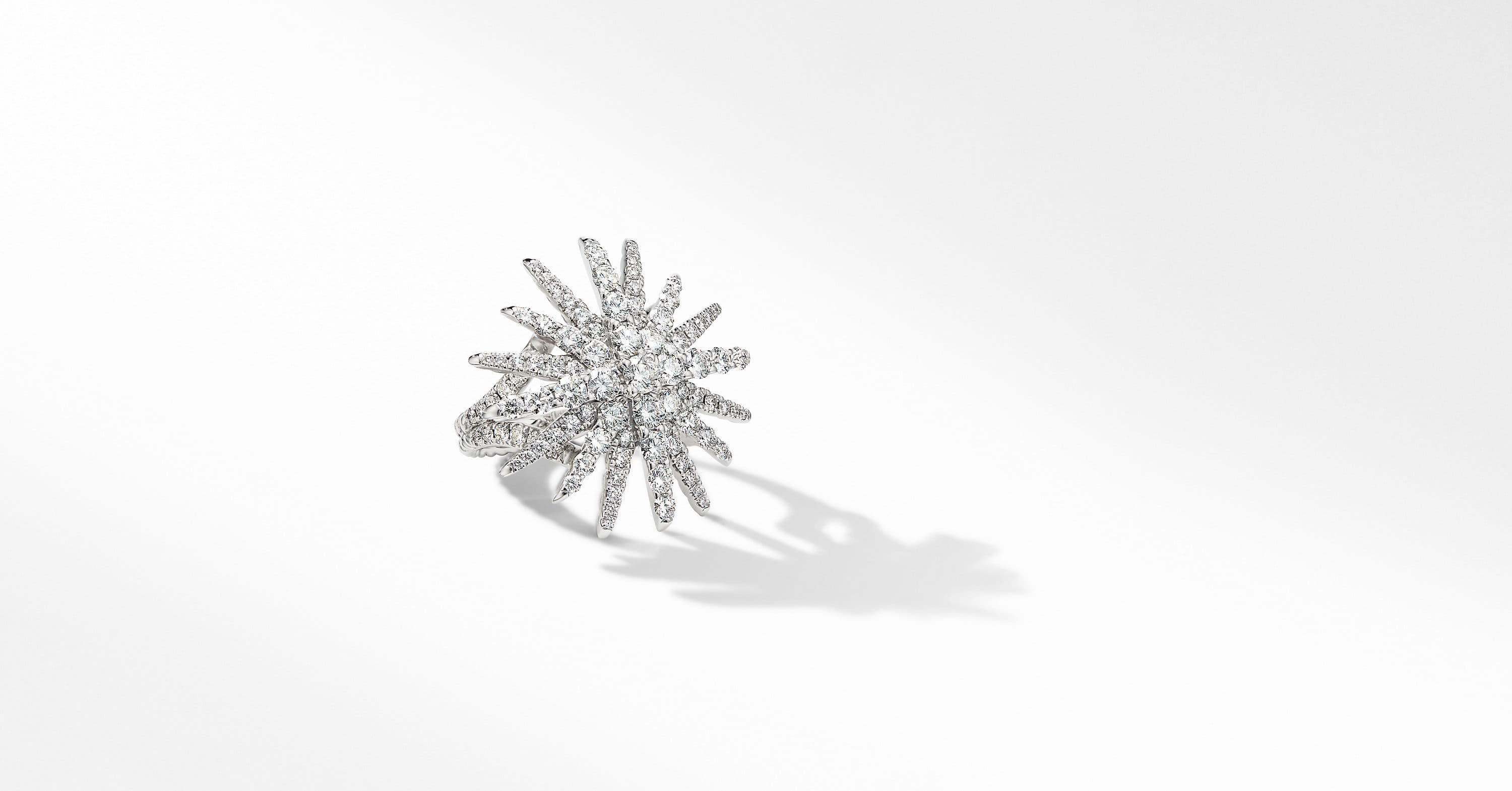 Starburst Statement Ring in 18K White Gold with Pavé