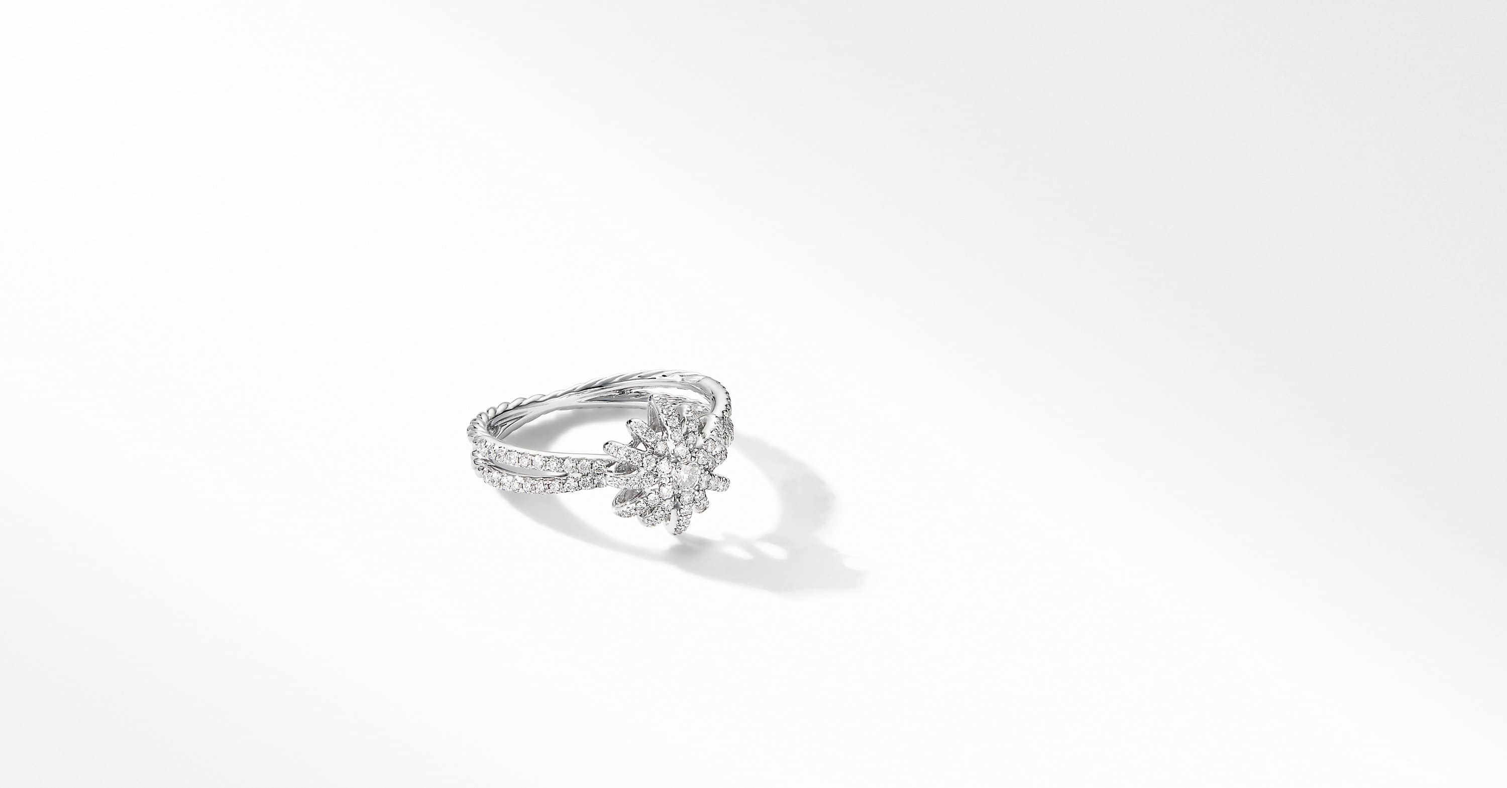 Starburst Ring in 18K White Gold with Pavé