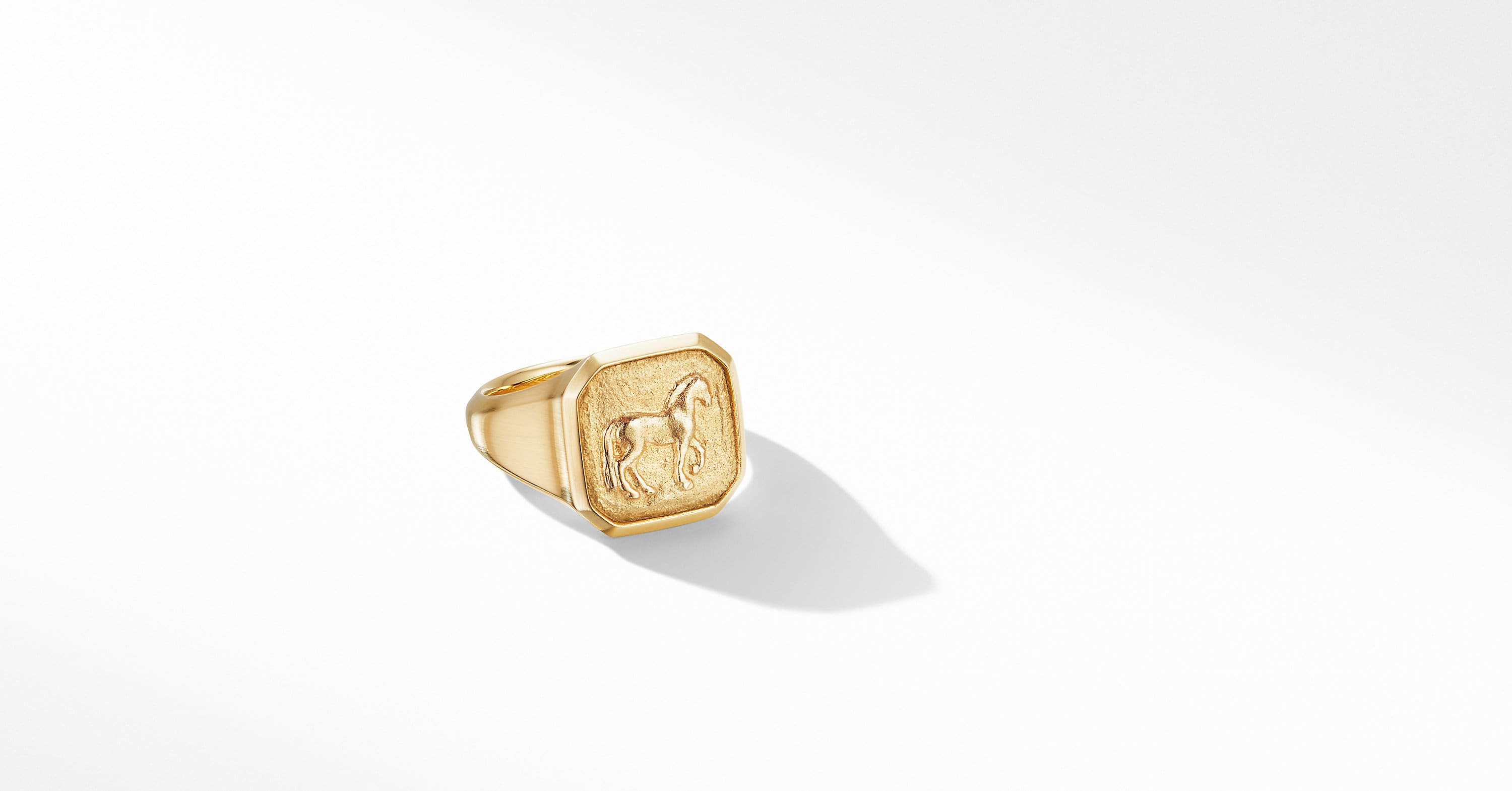 Petrvs Small Horse Pinky Ring in 18K Yellow Gold