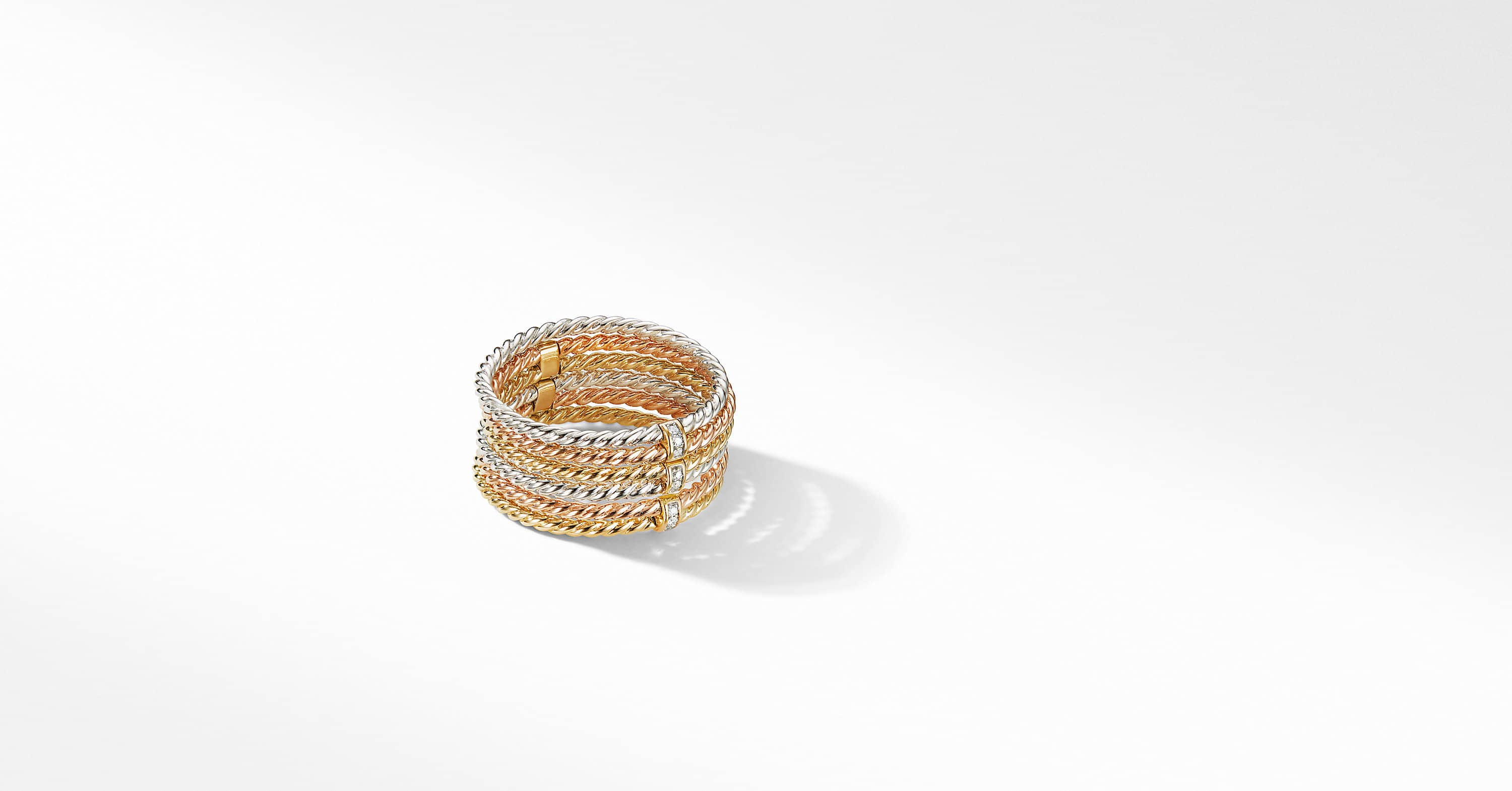DY Origami 6-Row Cable Ring in 18K Gold with Diamonds