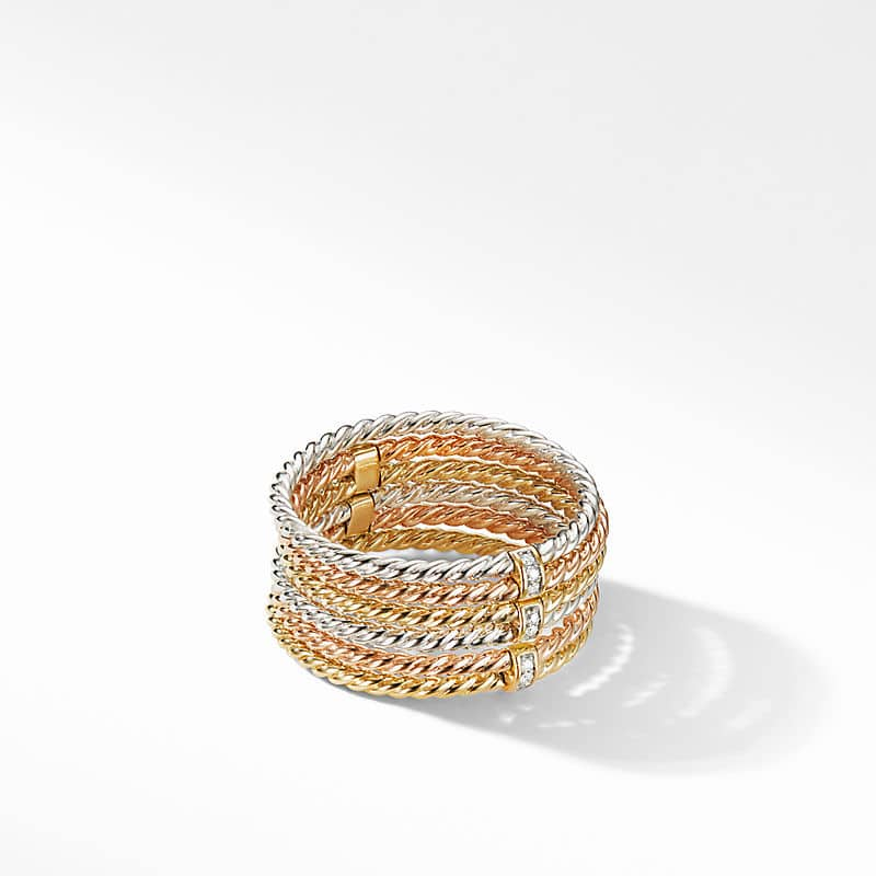 DY Origami 6-Row Cable Ring in 18K Gold