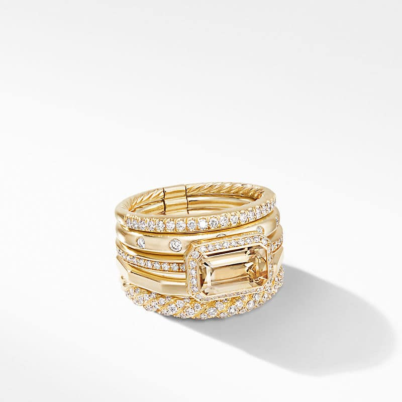 Stax Statement Ring in 18K Yellow Gold with Diamonds